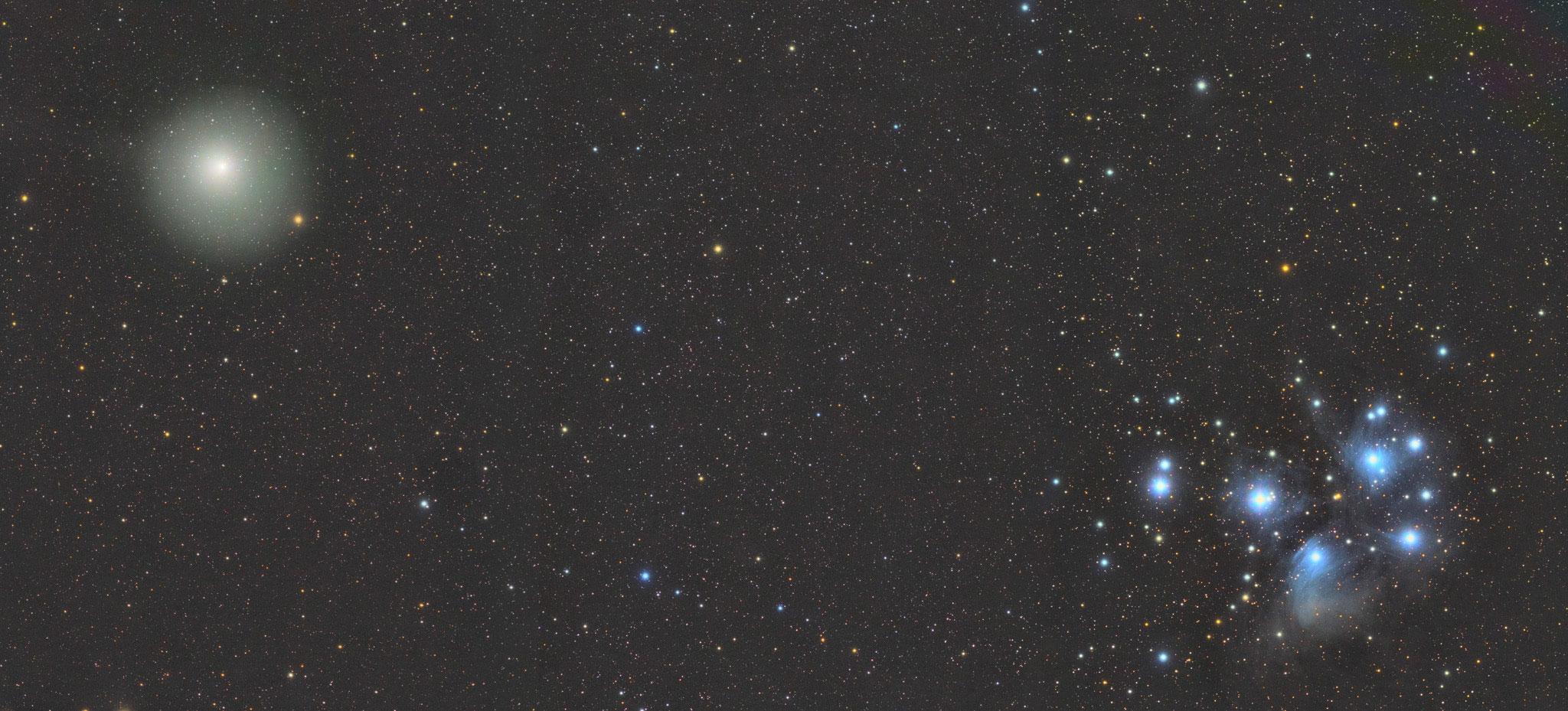 M45 et 46P/Wirtanen, Fabien, lunette 71, Sadr Chili