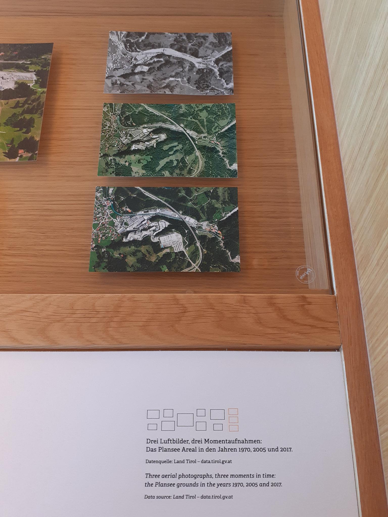 """Historische Luftbilder für Ausstellung """"100 Jahre Plansee Group""""  in Reutte - Detailansicht"""