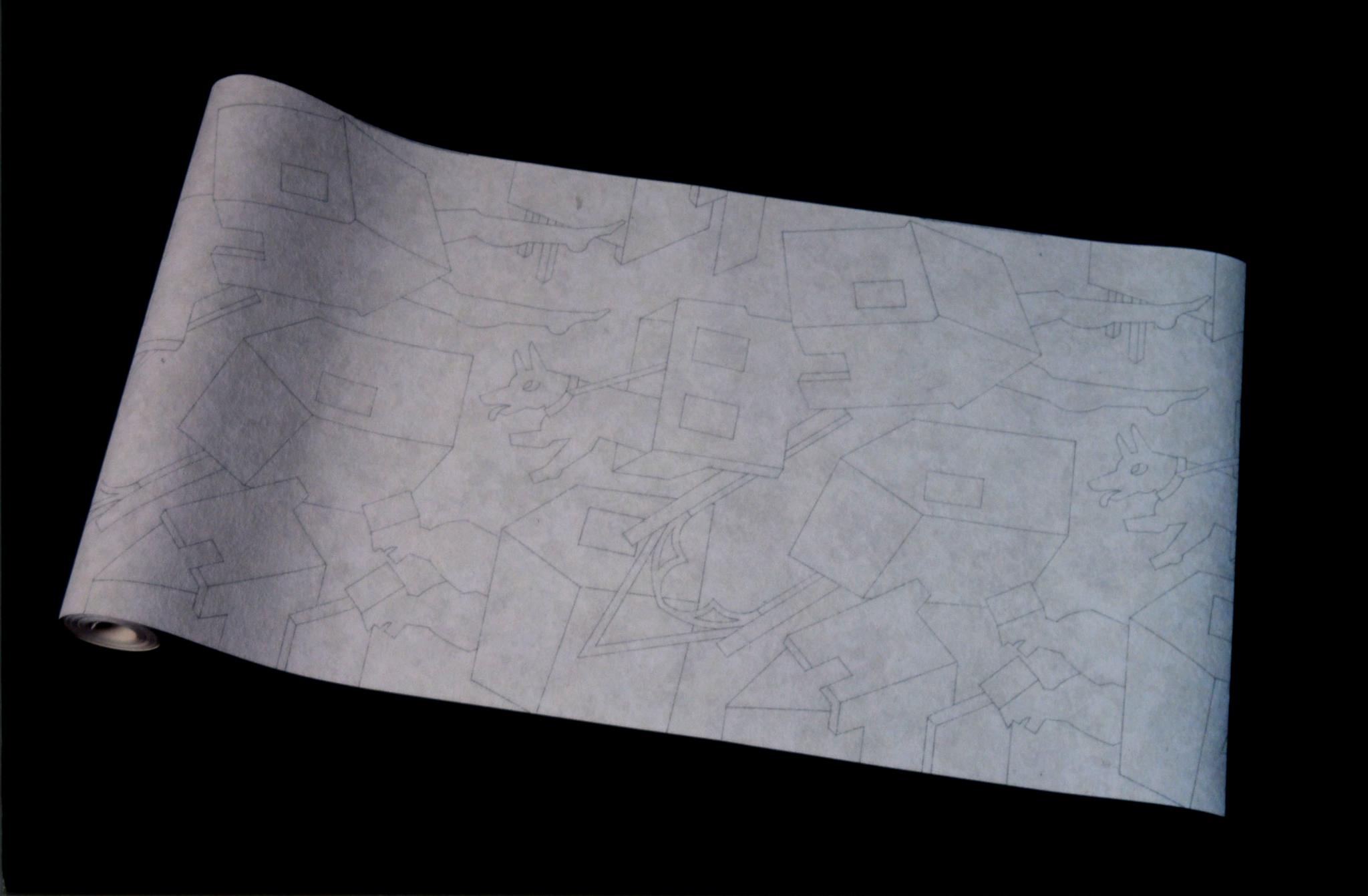 """""""Papier Peint Babylon"""" 70 x053 cm"""