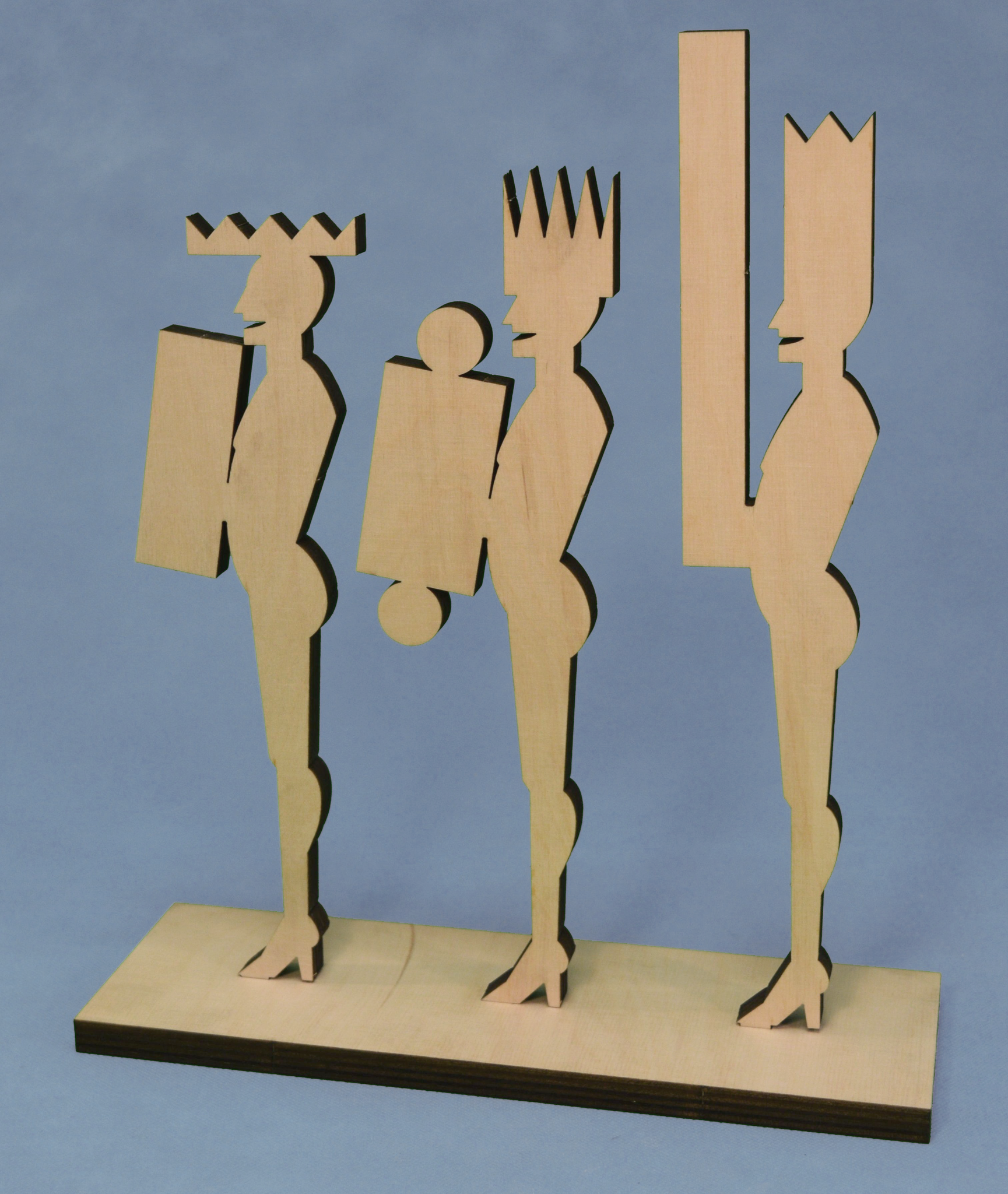 """The Three Wisemen"" plywood lasercut 28 x 33 x 7,5 cm"