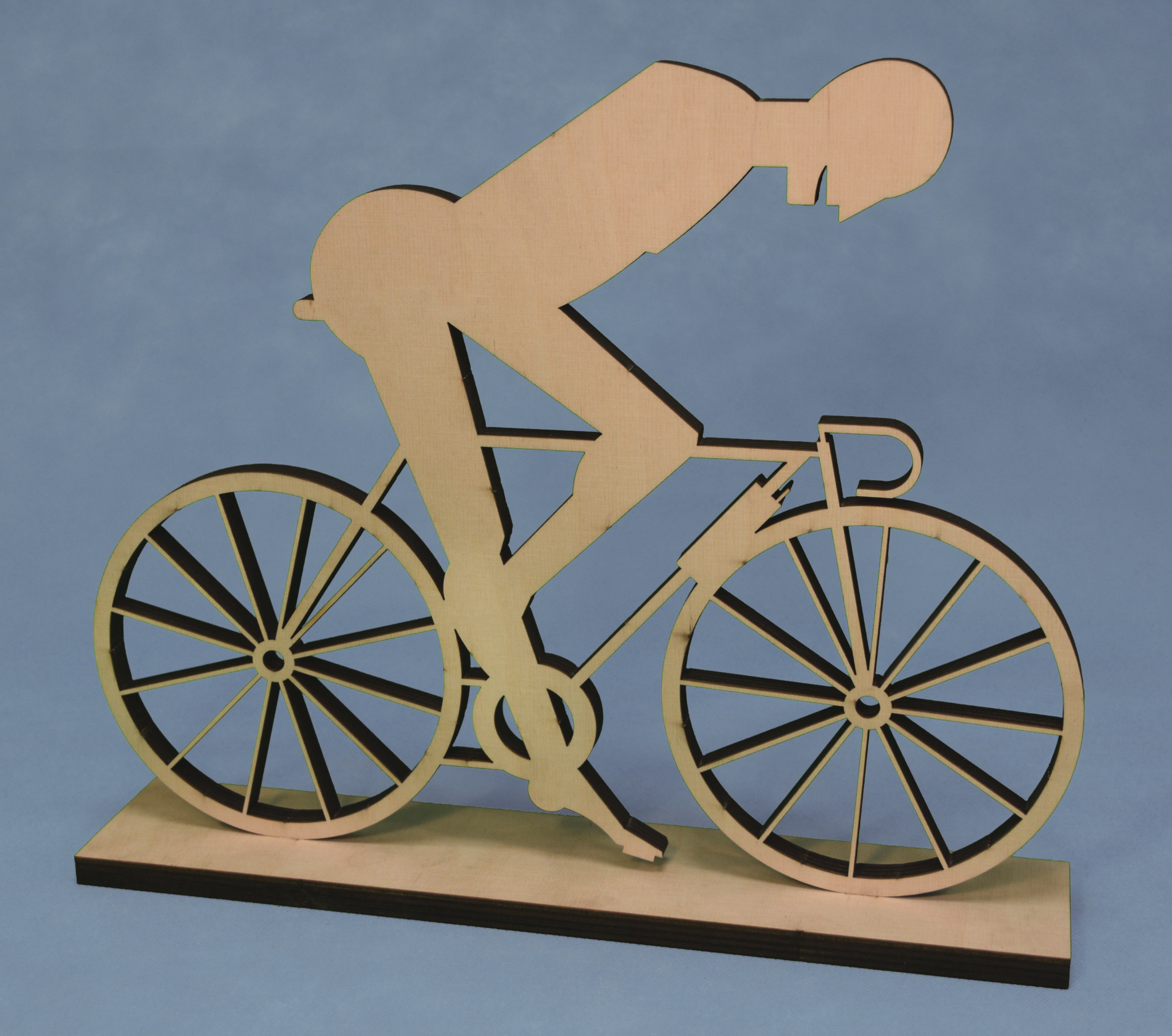 """Bicycle Rider "" plywood lasercut 37,5 x 31 x 7,5 cm"