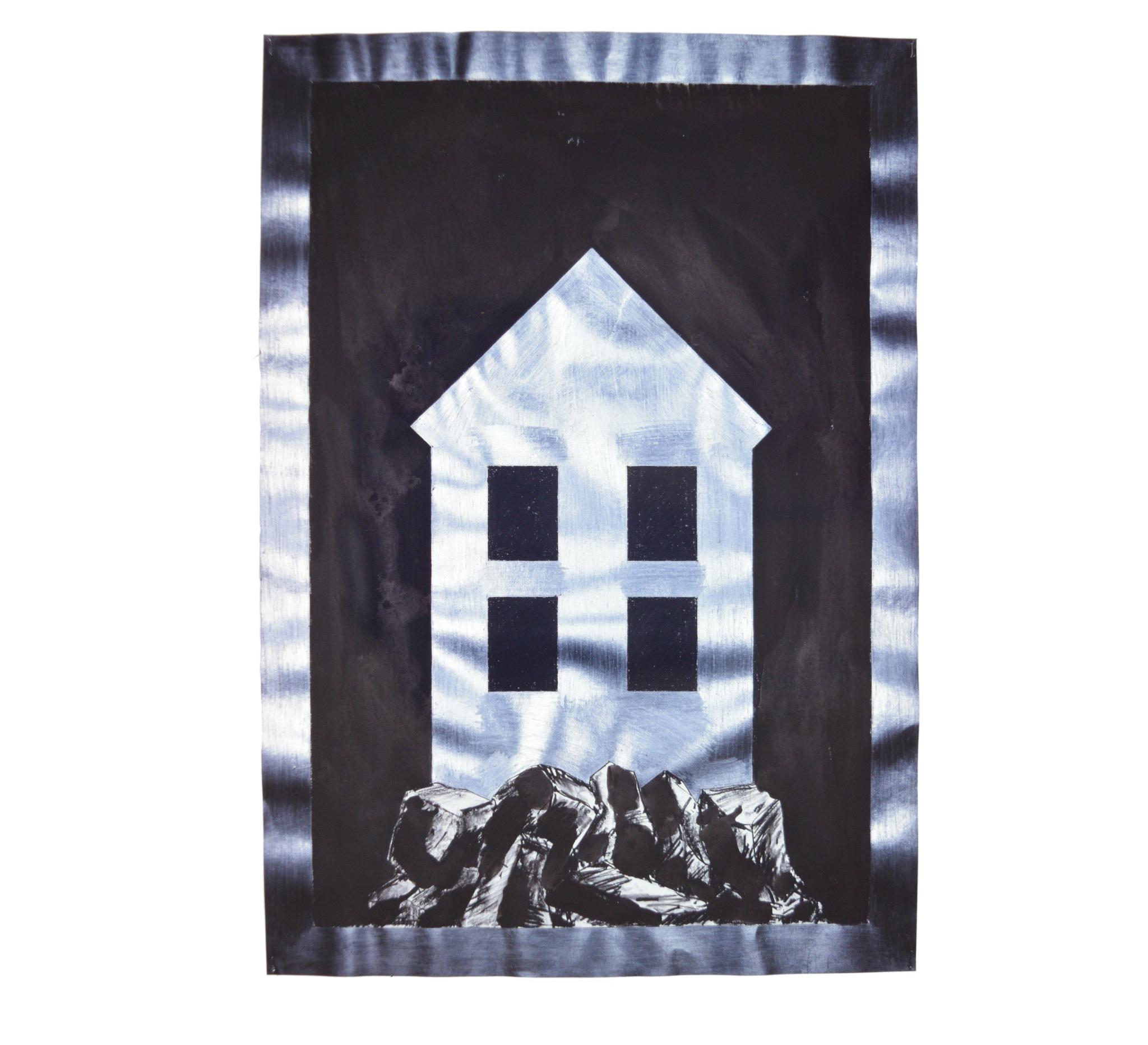 """""""Maison sur rochers"""" 1980, fusain, crayon, encre de Chine sur papier, 90 x 63 cm - Photo Hadler/Stuhr"""
