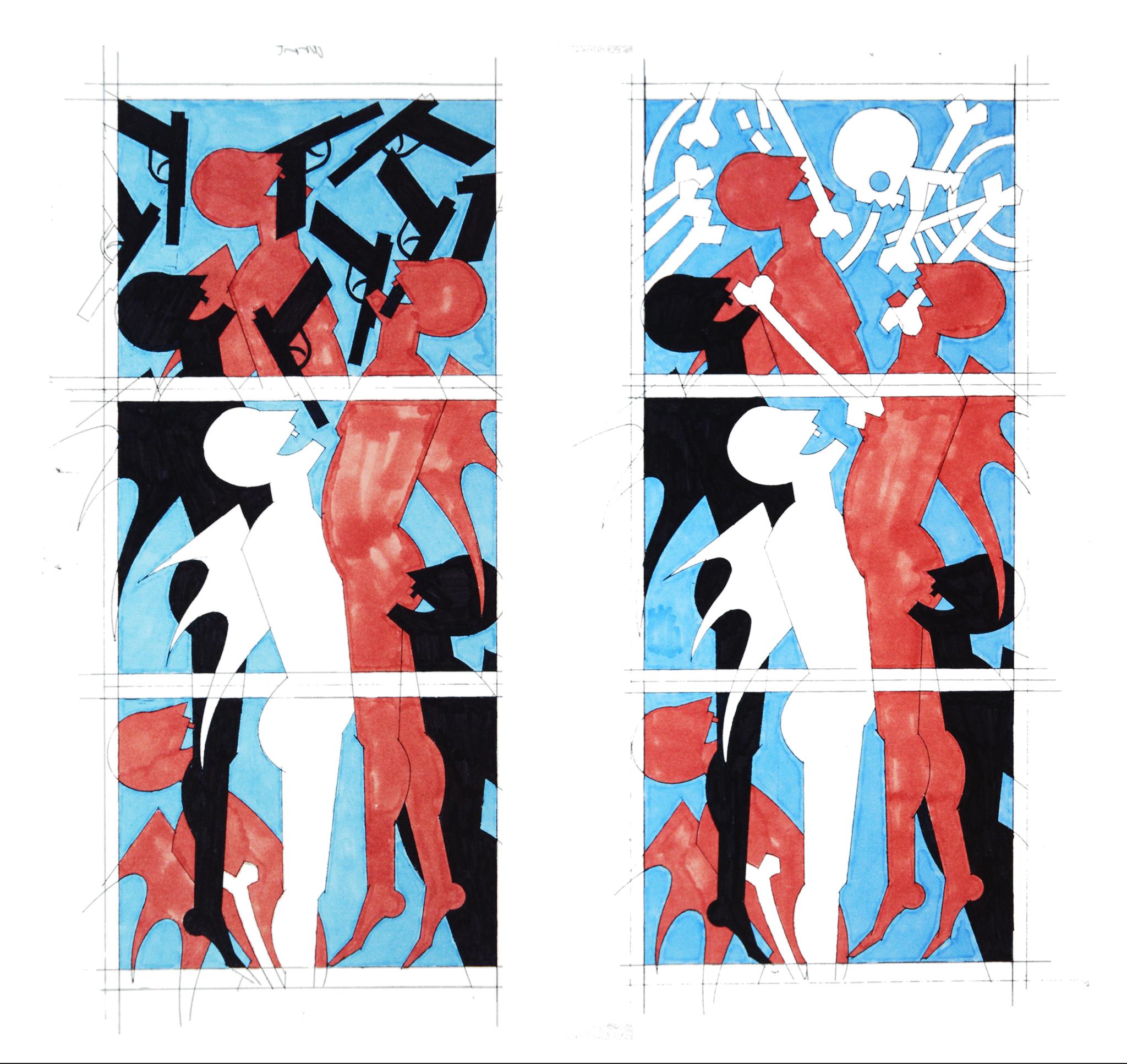 """Etude pour les vitraux """"l'Enfer avec ses Diables"""", 1999 - Foto Hadler/Stuhr"""