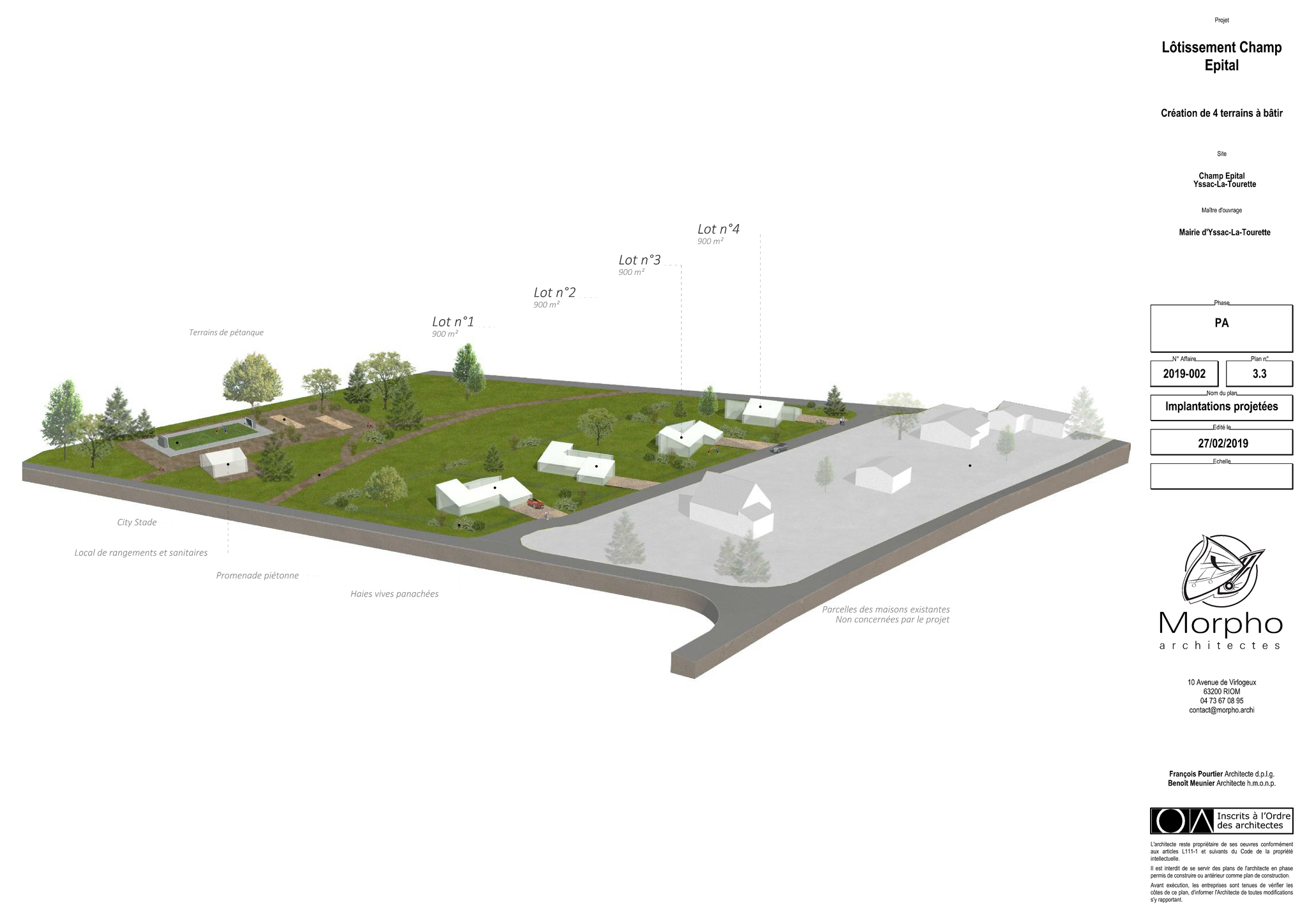 Projet d'aménagement du lotissement & parc