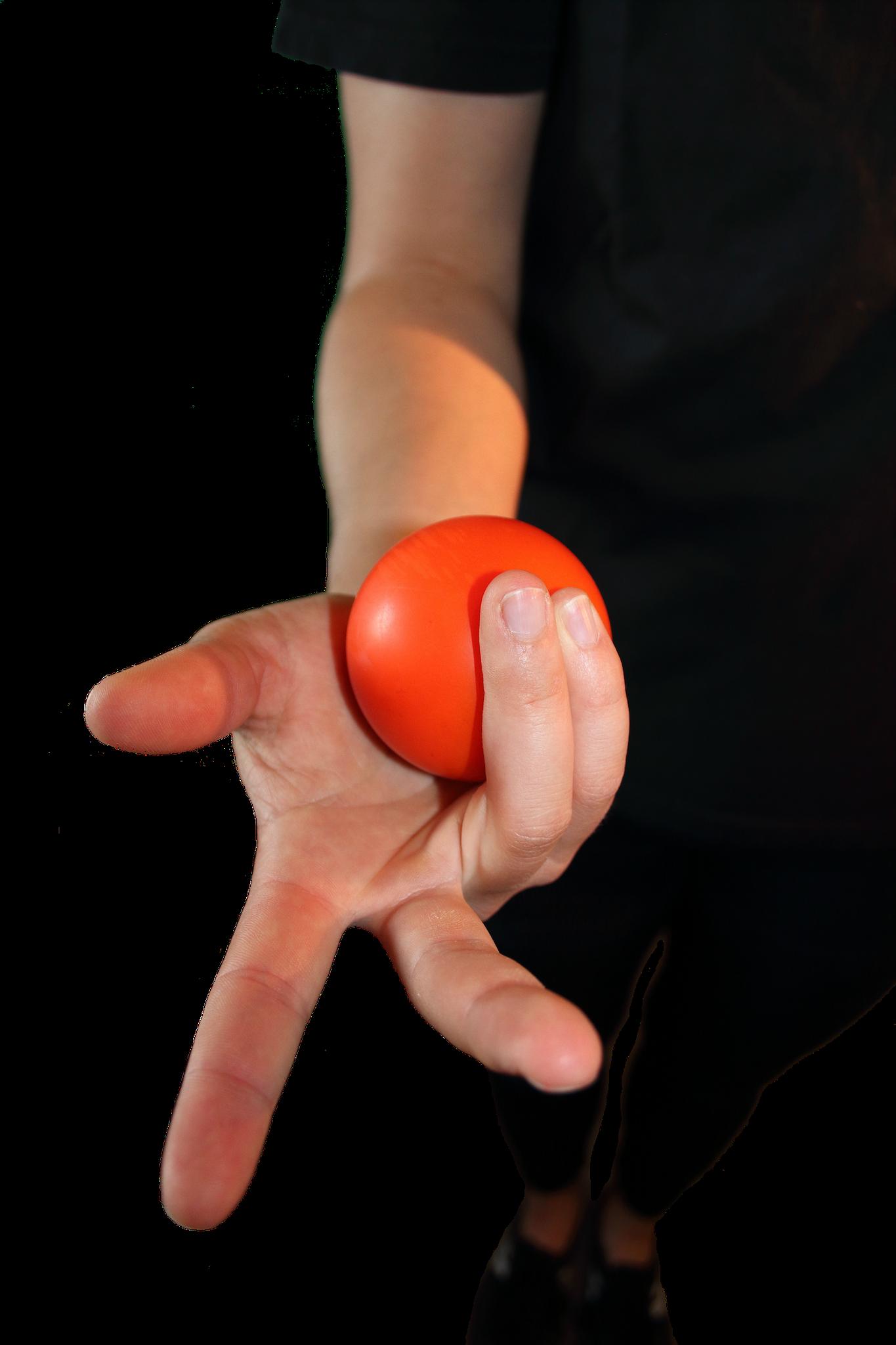 Nest: Ein Ball mit Ring- und kleinem Finger halten.