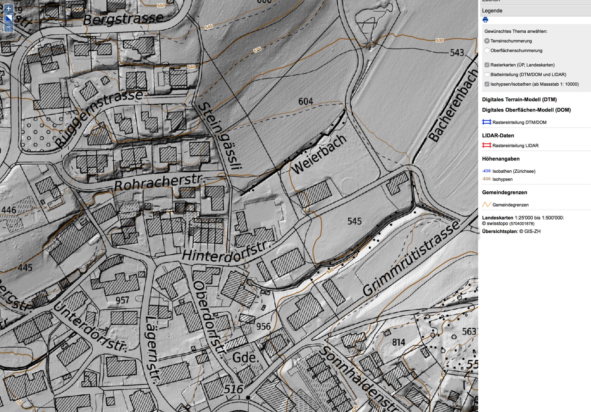Digitales Höhenmodell::siehe die Vertiefungen im Dorf, z.B. Parkplatz Hinterdorf (ehem. Feuerwehrlokal)
