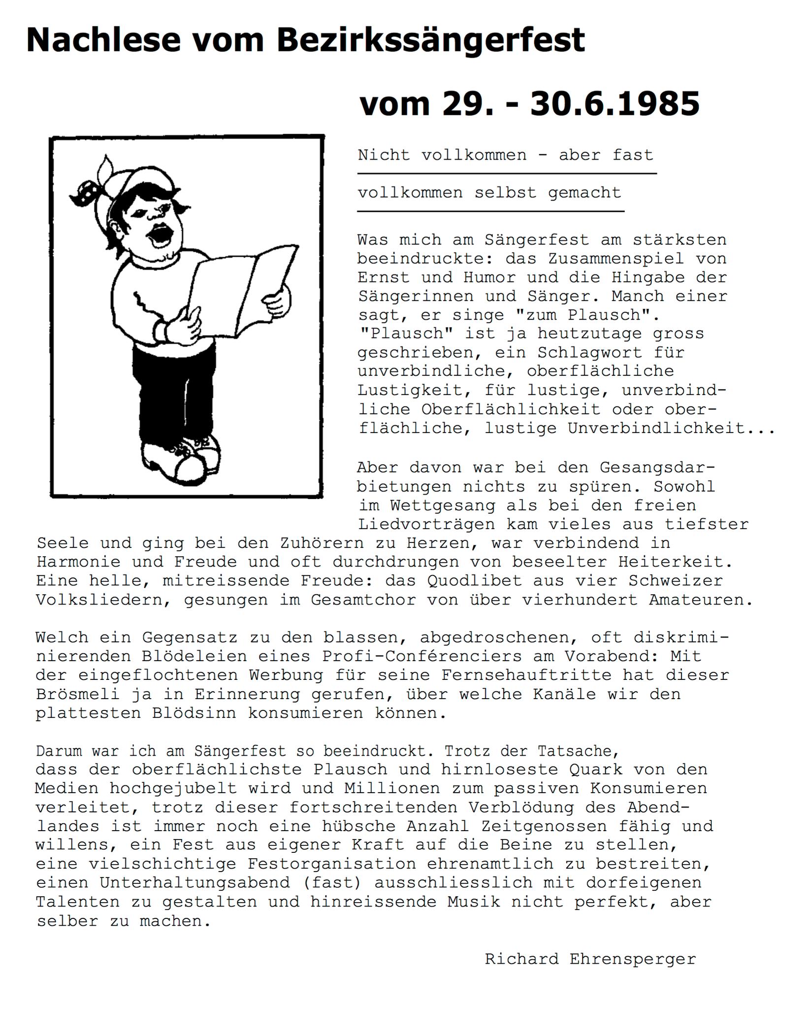 Nachlese von Richard Ehrensperger in der BOZY 3/85