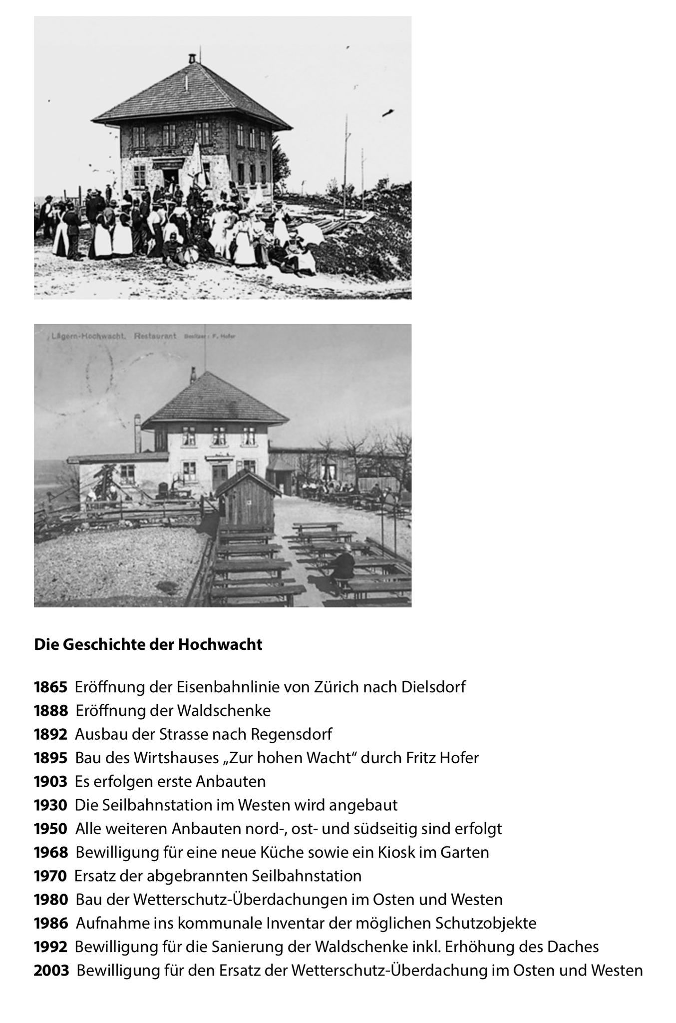 Geschichte des Restaurants Hochwacht::www.laegern-hochwacht.ch