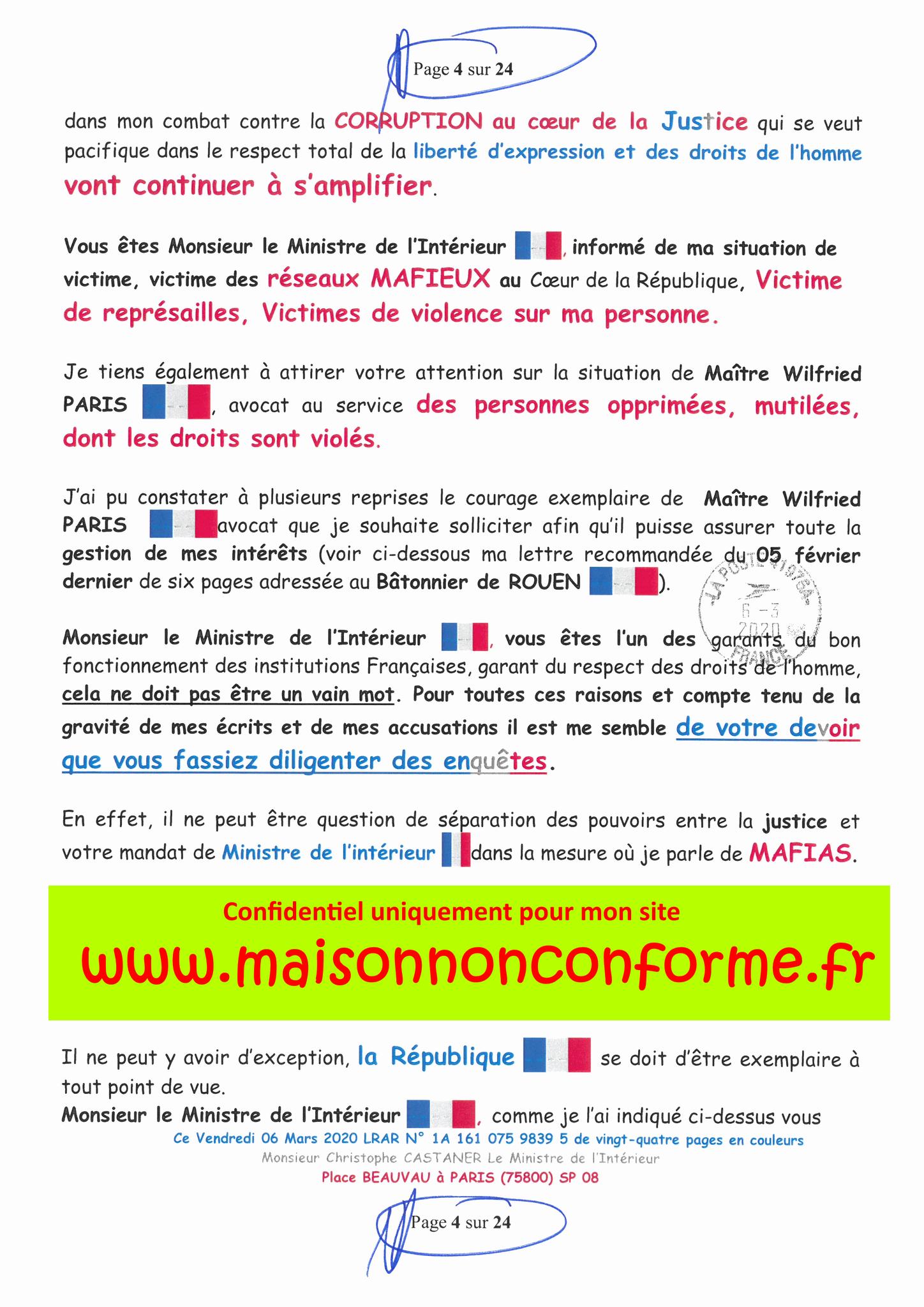 Ma LRAR à Monsieur le Ministre de l'Intérieur Christophe CASTANER N°1A 161 075 9839 5  Page 4 sur 24 en couleur du 06 Mars 2020  www.jesuispatrick.fr www.jesuisvictime.fr www.alerte-rouge-france.fr
