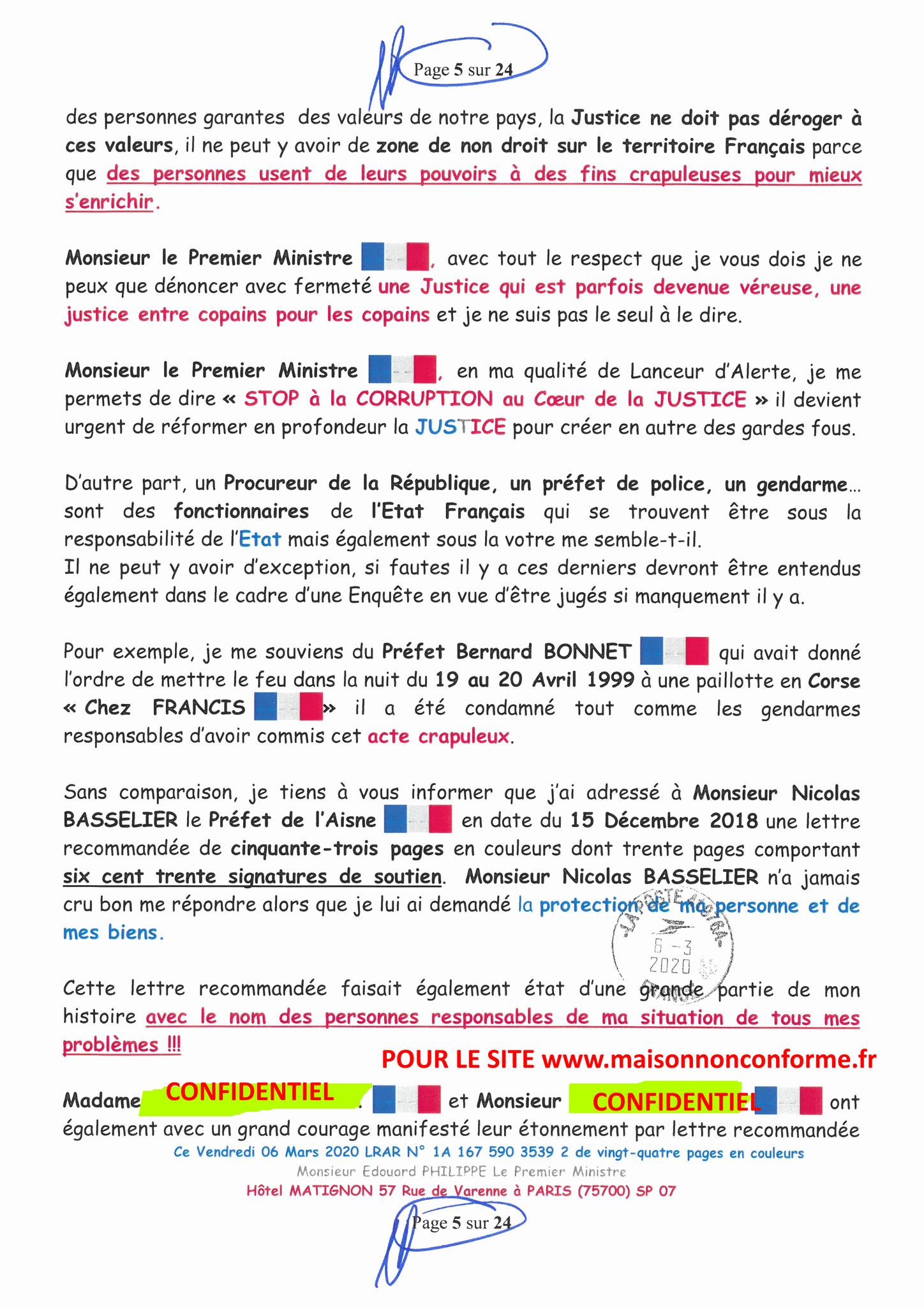 Ma LRAR à Monsieur le  Premier Ministre Edouard PHILIPPE N° 1A 167 590 3539 2 Page 5 sur 24 en Couleur du 06 Mars 2020  www.jesuispatrick.fr www.jesuisvictime.fr www.alerte-rouge-france.fr