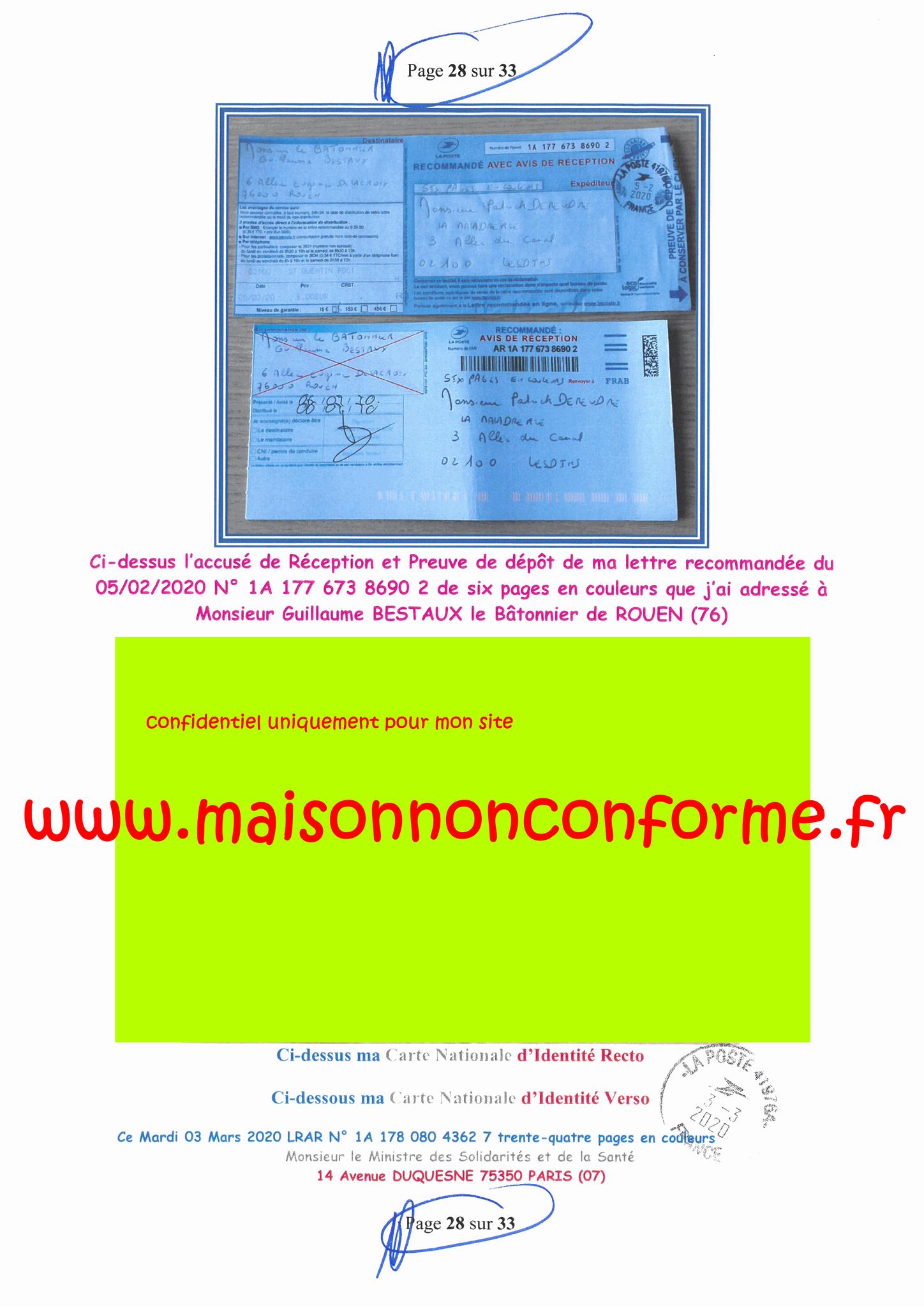 Page 28 sur 33 Ma lettre recommandée N0 1A 178 080 4362 7 du 03 Mars 2020 à Monsieur Olivier VERAN le Ministre de la Santé et des Solidarités www.jesuispatrick.fr