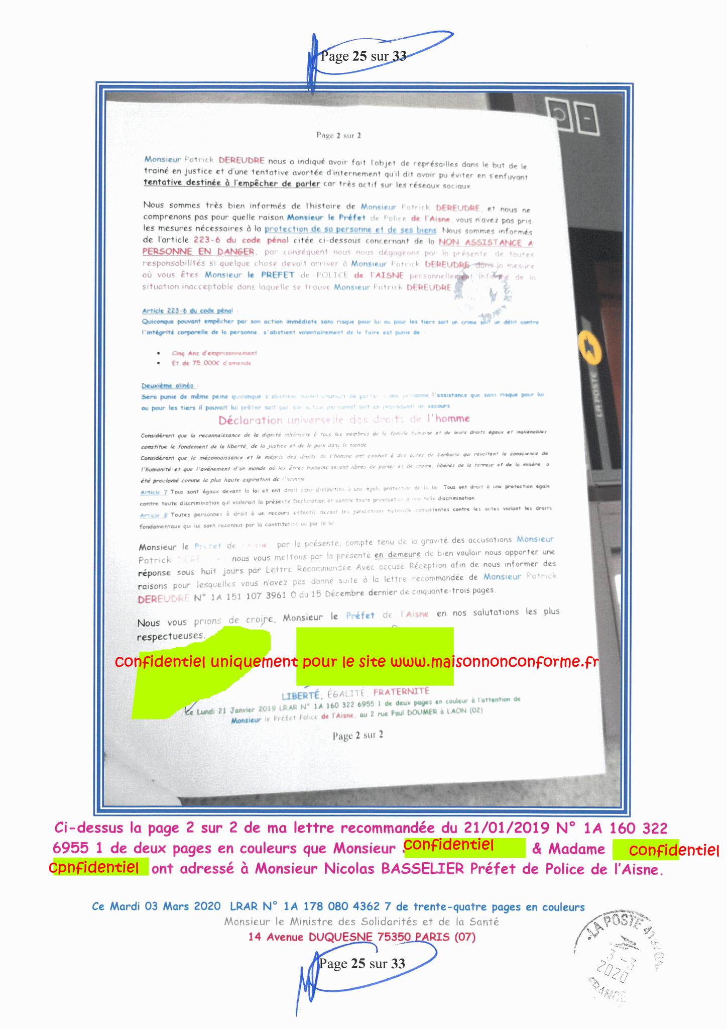 Page 25 sur 33 Ma lettre recommandée N0 1A 178 080 4362 7 du 03 Mars 2020 à Monsieur Olivier VERAN le Ministre de la Santé et des Solidarités www.jesuispatrick.fr www.jesuisvictime.fr www.alerte-rouge-france.fr