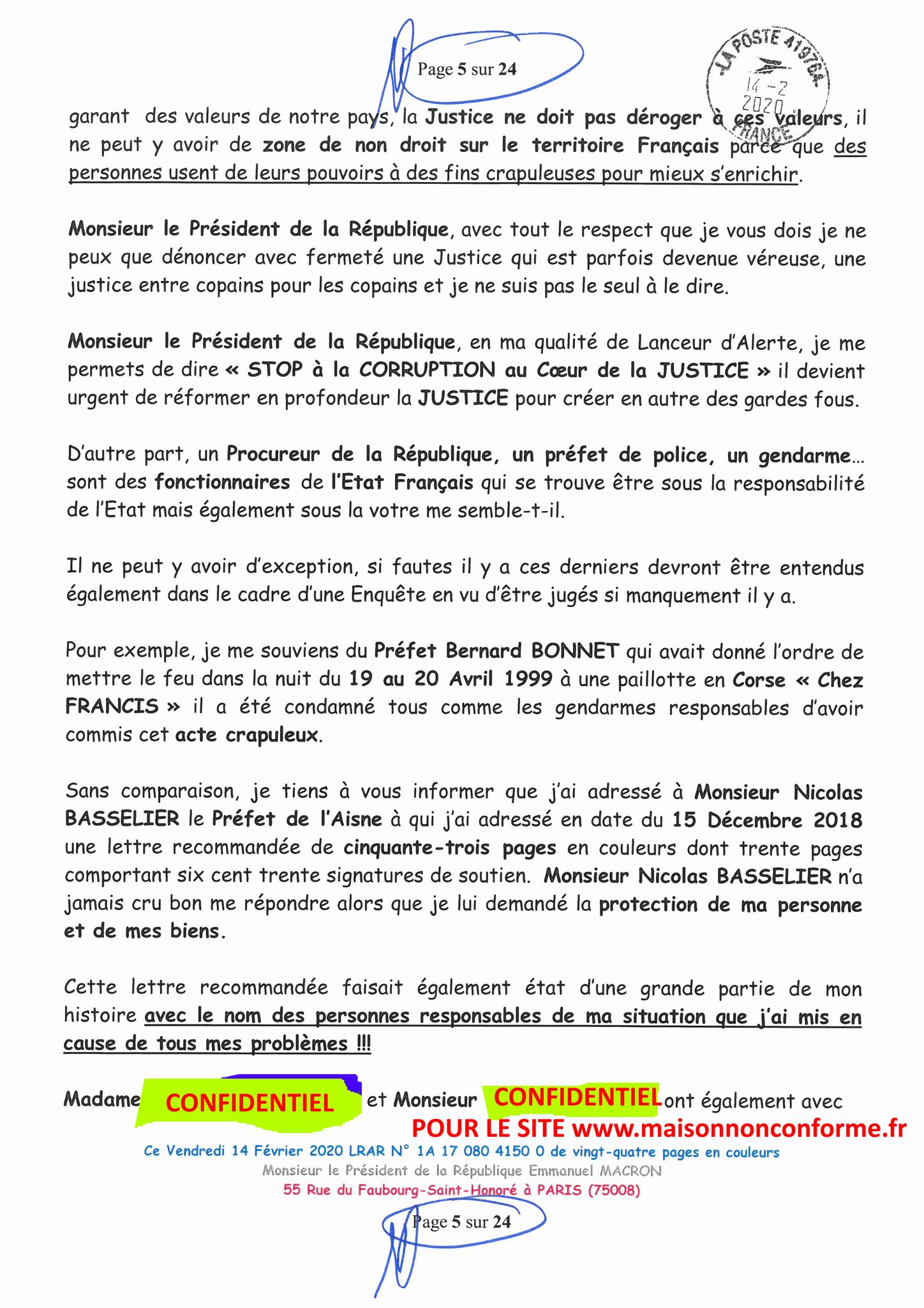 Ma lettre recommandée du 14 Février 2020 N° 1A 178 082 4150 0  page 5 sur 24 en couleur que j'ai adressé à Monsieur Emmanuel MACRON le Président de la République www.jesuispatrick.fr