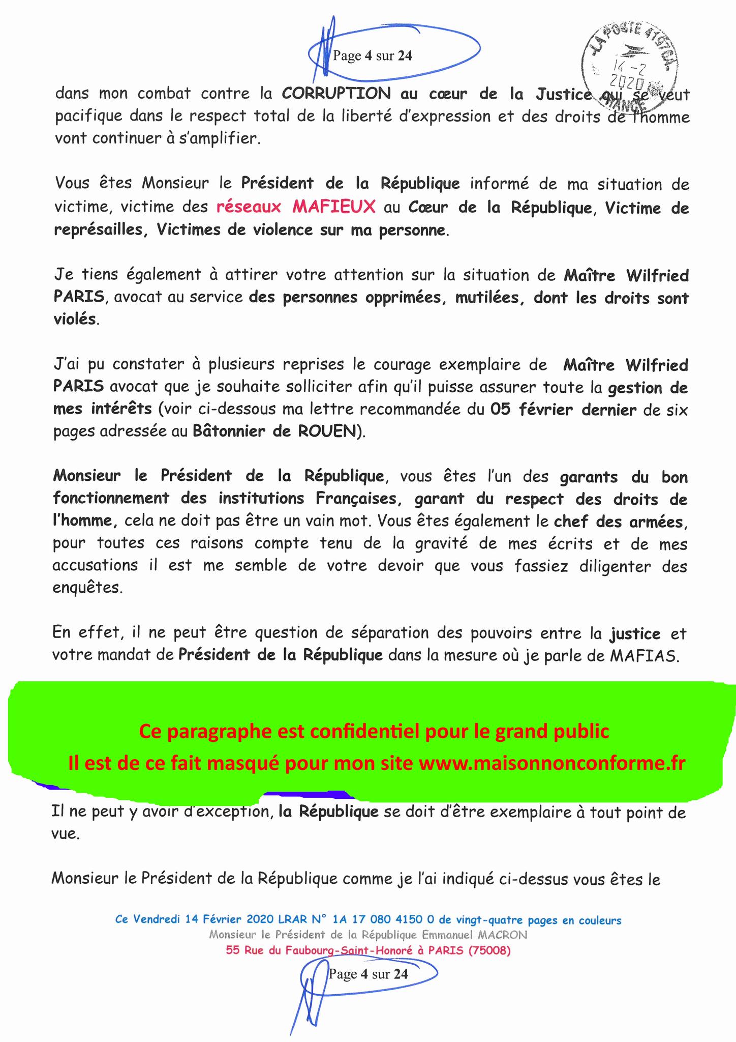 Ma lettre recommandée du 14 Février 2020 N° 1A 178 082 4150 0  page 4 sur 24 en couleur que j'ai adressé à Monsieur Emmanuel MACRON le Président de la République www.jesuispatrick.fr