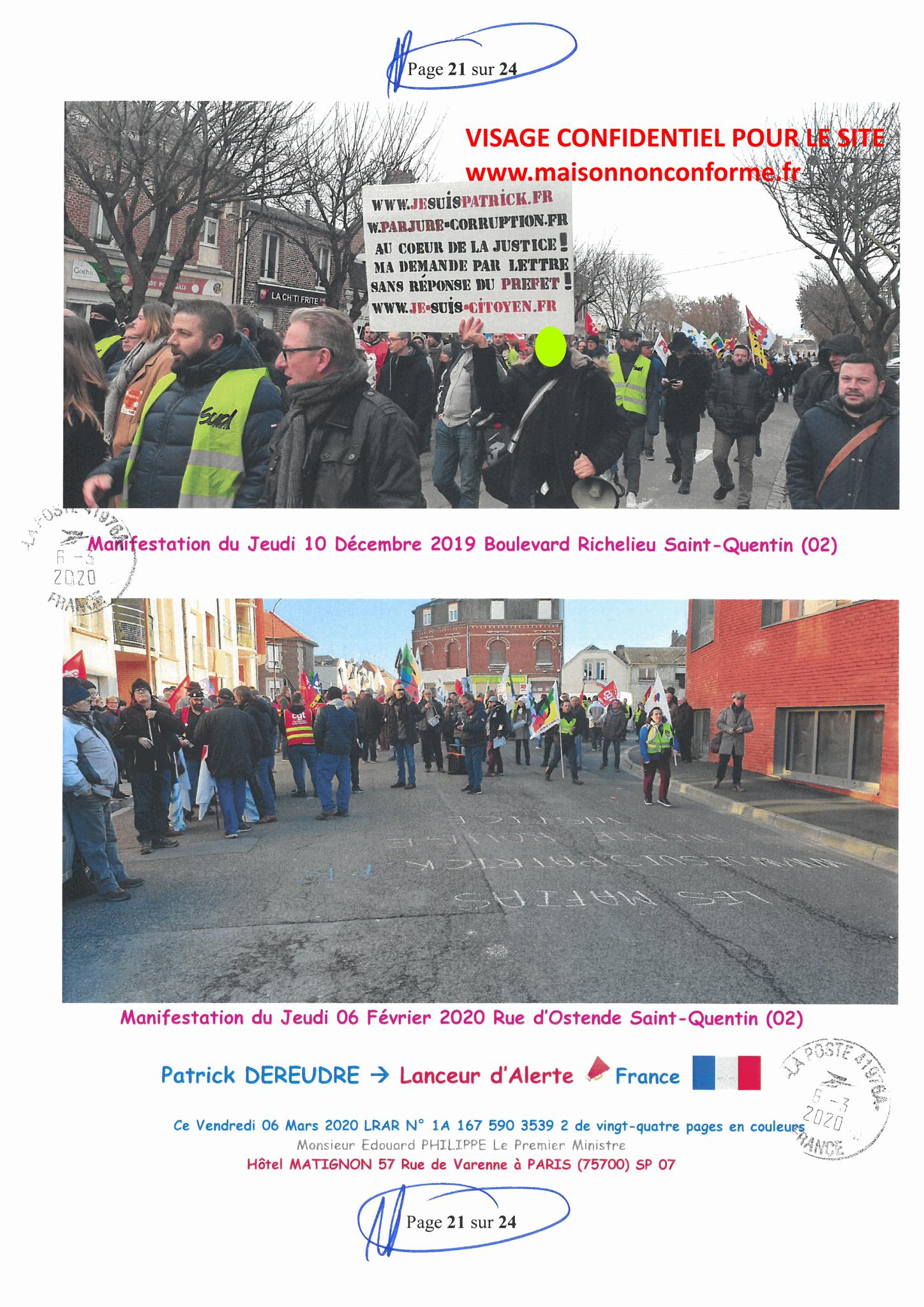 Ma LRAR à Monsieur le  Premier Ministre Edouard PHILIPPE N° 1A 167 590 3539 2 Page 21 sur 24 en Couleur du 06 Mars 2020  www.jesuispatrick.fr www.jesuisvictime.fr www.alerte-rouge-france.fr