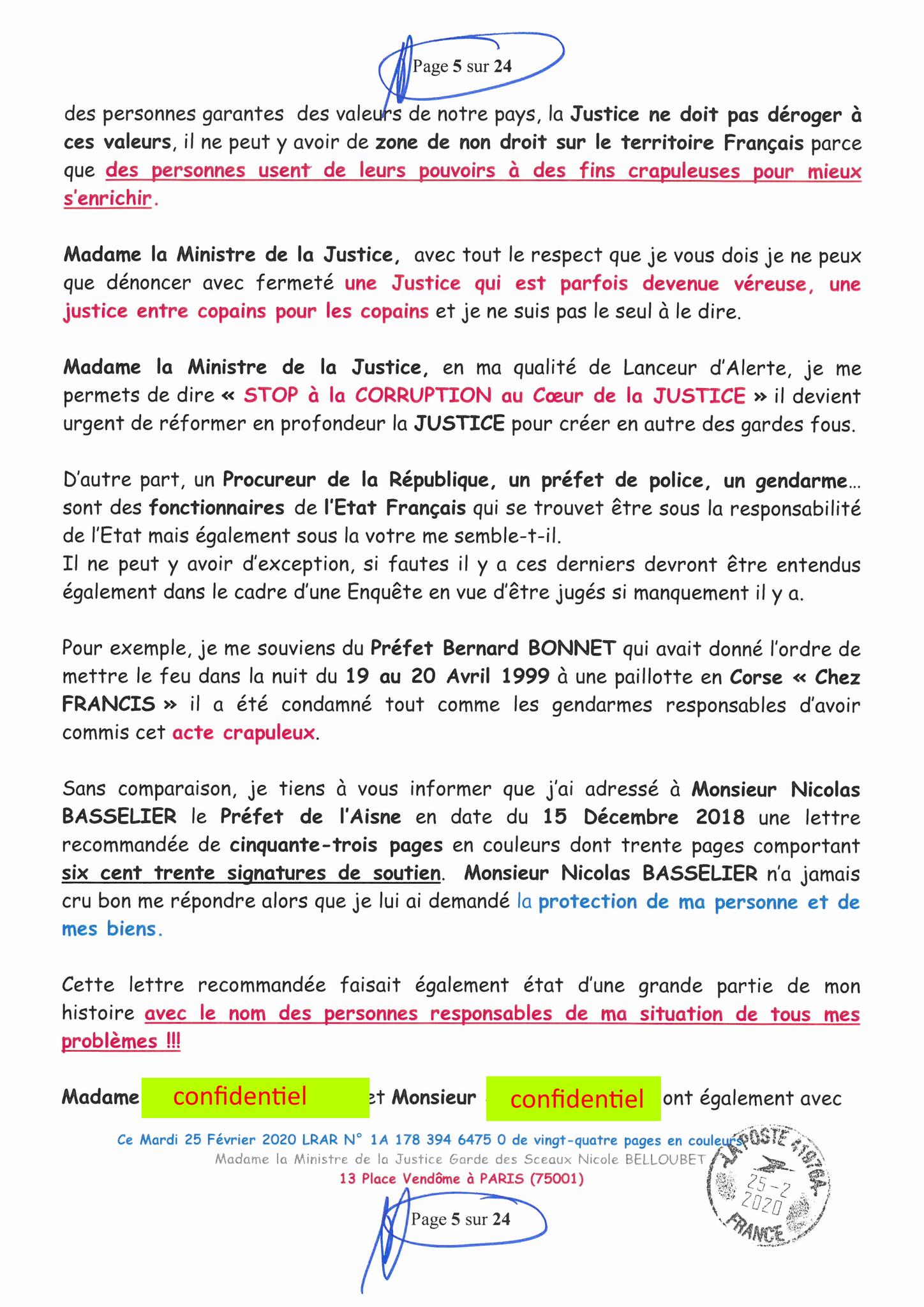 Ma LRAR à Madame Nicole BELLOUBET la Ministre de la Justice N0 1A 178 394 6475 0 Page 5 sur 24 en couleur  www.jesuispatrick.com www.jesuisvictime.fr www.alerte-rouge-france.fr