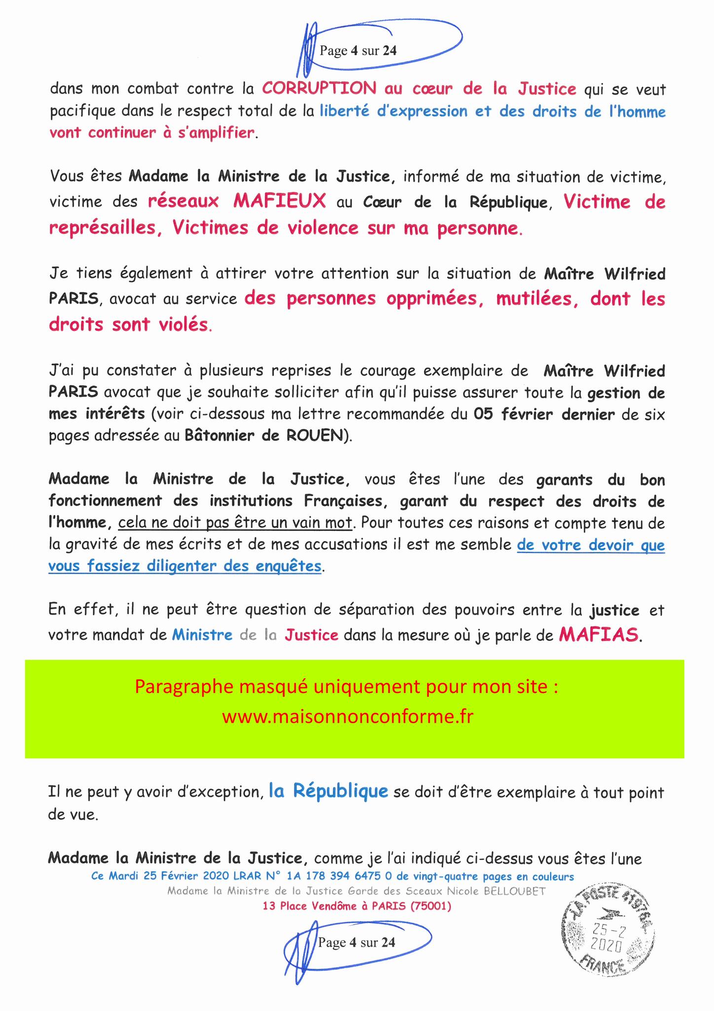 Ma LRAR à Madame Nicole BELLOUBET la Ministre de la Justice N0 1A 178 394 6475 0 Page 4 sur 24 en couleur  www.jesuispatrick.com www.jesuisvictime.fr www.alerte-rouge-france.fr