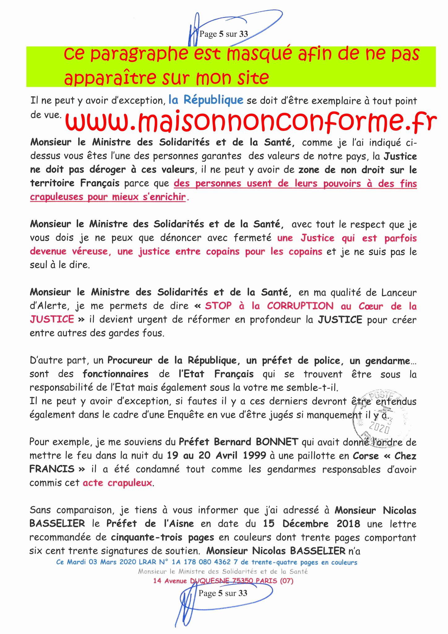 Page 5 sur 33 Ma lettre recommandée N0 1A 178 080 4362 7 du 03 Mars 2020 à Monsieur Olivier VERAN le Ministre de la Santé et des Solidarités www.jesuispatrick.fr
