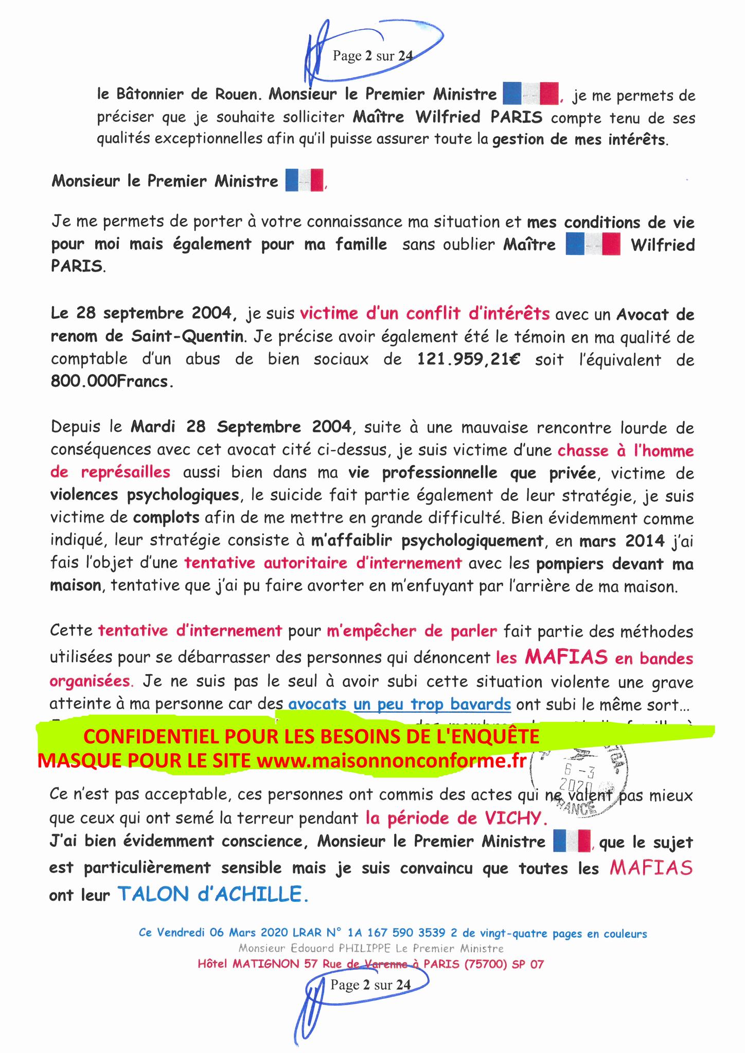 Ma LRAR à Monsieur le  Premier Ministre Edouard PHILIPPE N° 1A 167 590 3539 2 Page 2 sur 24 en Couleur du 06 Mars 2020  www.jesuispatrick.fr www.jesuisvictime.fr www.alerte-rouge-france.fr