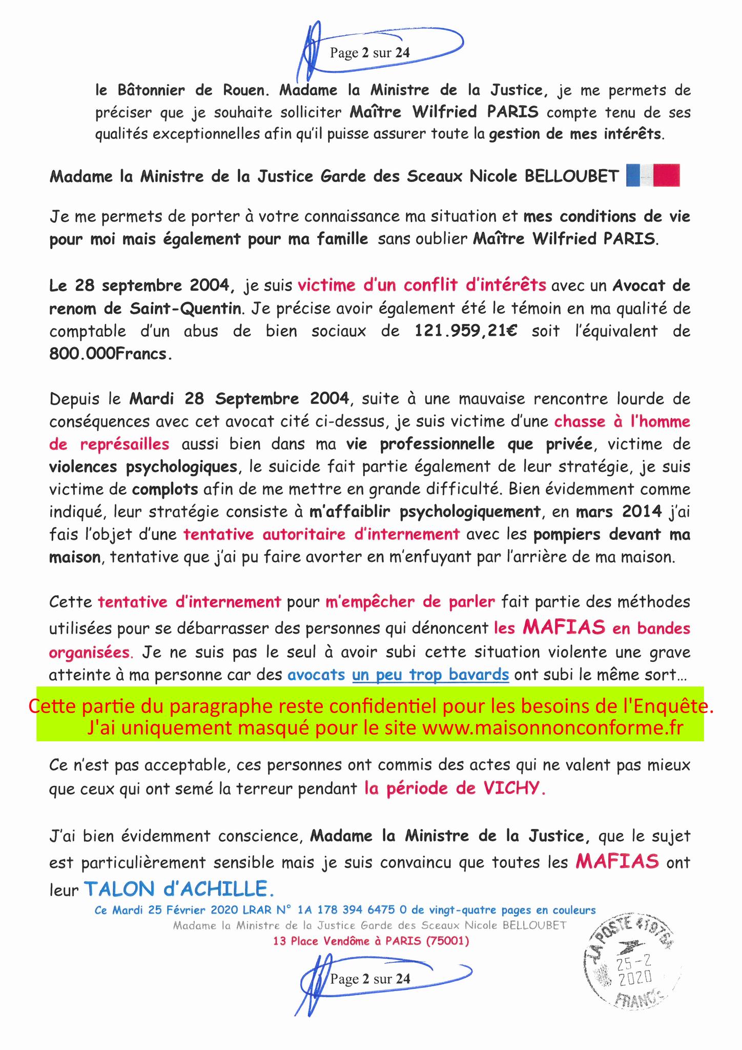 Ma LRAR à Madame Nicole BELLOUBET la Ministre de la Justice N0 1A 178 394 6475 0 Page 2 sur 24 en couleur  www.jesuispatrick.com www.jesuisvictime.fr www.alerte-rouge-france.fr