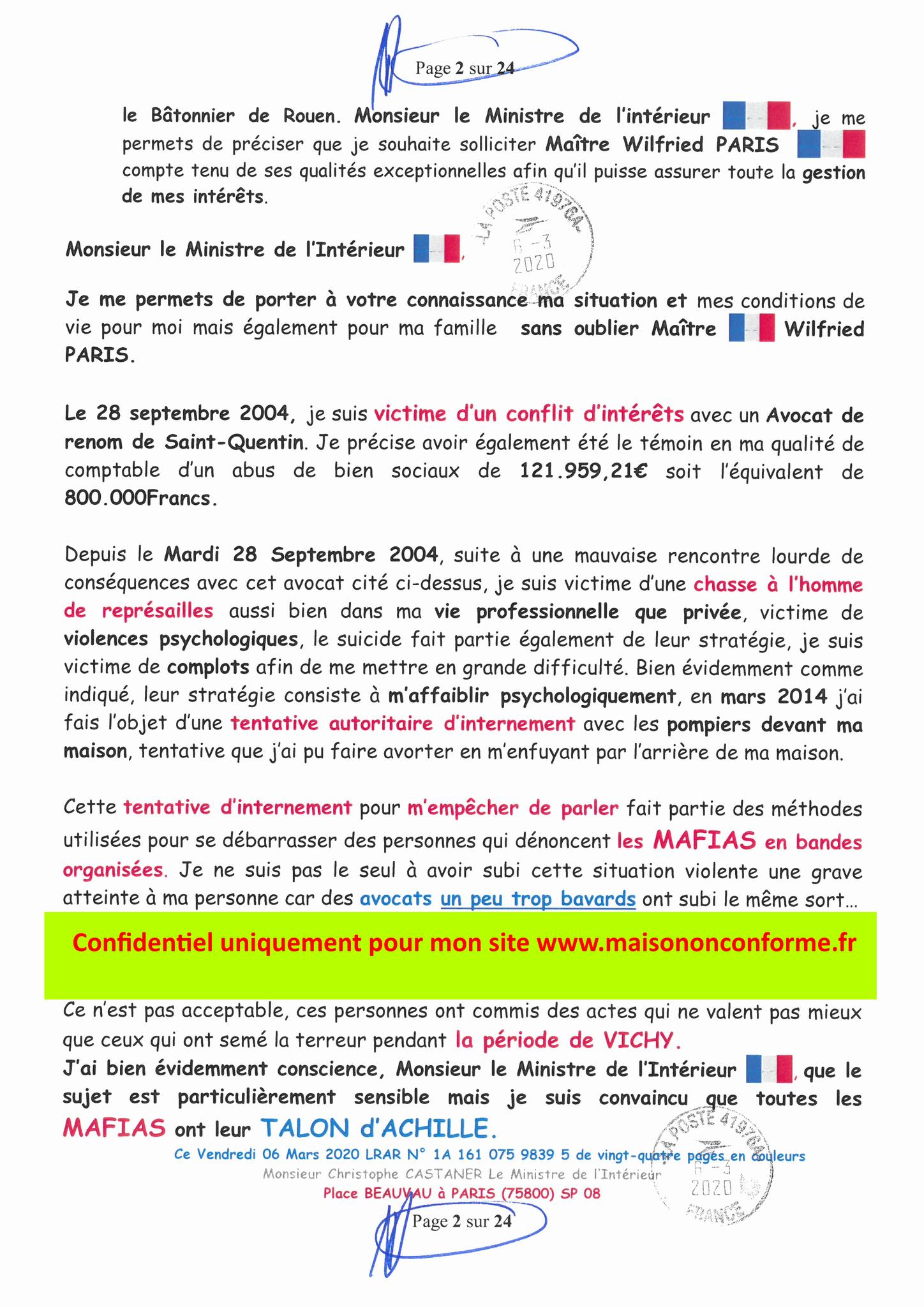 Ma LRAR à Monsieur le Ministre de l'Intérieur Christophe CASTANER N°1A 161 075 9839 5  Page 2 sur 24 en couleur du 06 Mars 2020  www.jesuispatrick.fr www.jesuisvictime.fr www.alerte-rouge-france.fr