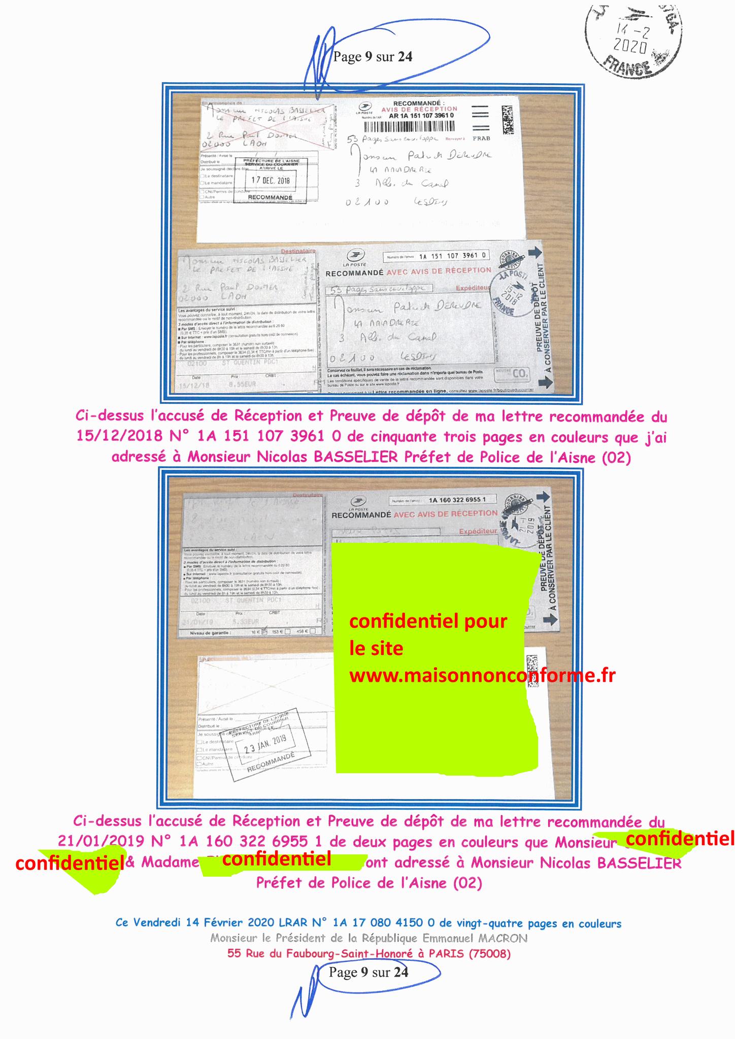 Ma lettre recommandée du 14 Février 2020 N° 1A 178 082 4150 0  page 9 sur 24 en couleur que j'ai adressé à Monsieur Emmanuel MACRON le Président de la République www.jesuispatrick.fr www.jesuisvictime.fr www.alerte-rouge-france.fr