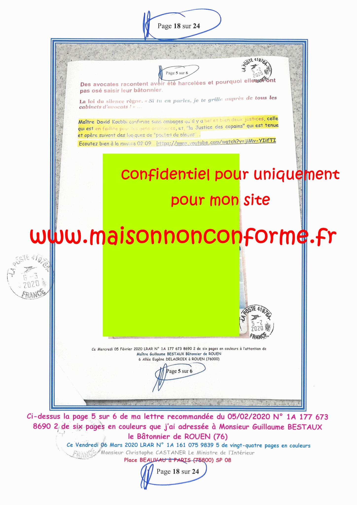 Ma LRAR à Monsieur le Ministre de l'Intérieur Christophe CASTANER N°1A 161 075 9839 5  Page 18 sur 24 en couleur du 06 Mars 2020  www.jesuispatrick.fr