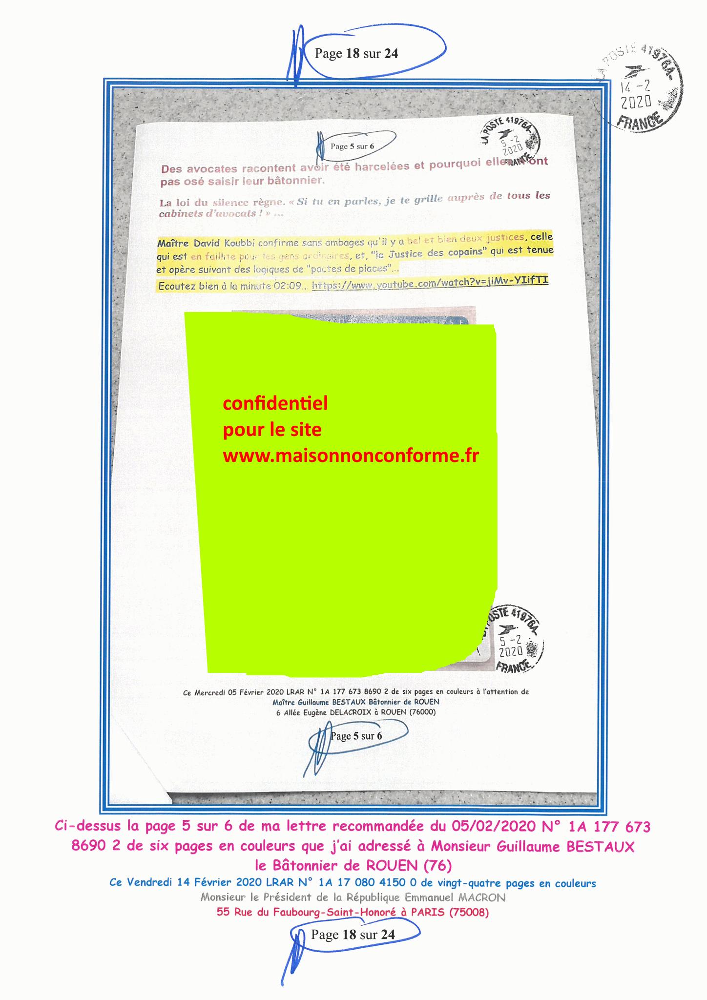 Ma lettre recommandée du 14 Février 2020 N° 1A 178 082 4150 0  page 18 sur 24 en couleur que j'ai adressé à Monsieur Emmanuel MACRON le Président de la République www.jesuispatrick.fr