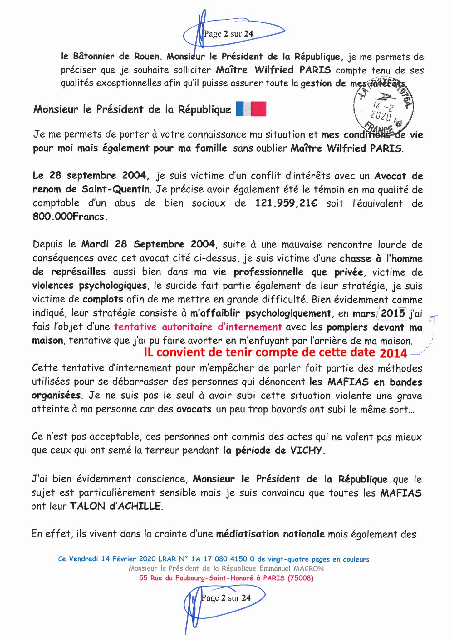 Ma lettre recommandée du 14 Février 2020 N° 1A 178 082 4150 0  page 2 sur 24 en couleur que j'ai adressé à Monsieur Emmanuel MACRON le Président de la République www.jesuispatrick.fr www.jesuisvictime.fr www.alerte-rouge-france.fr