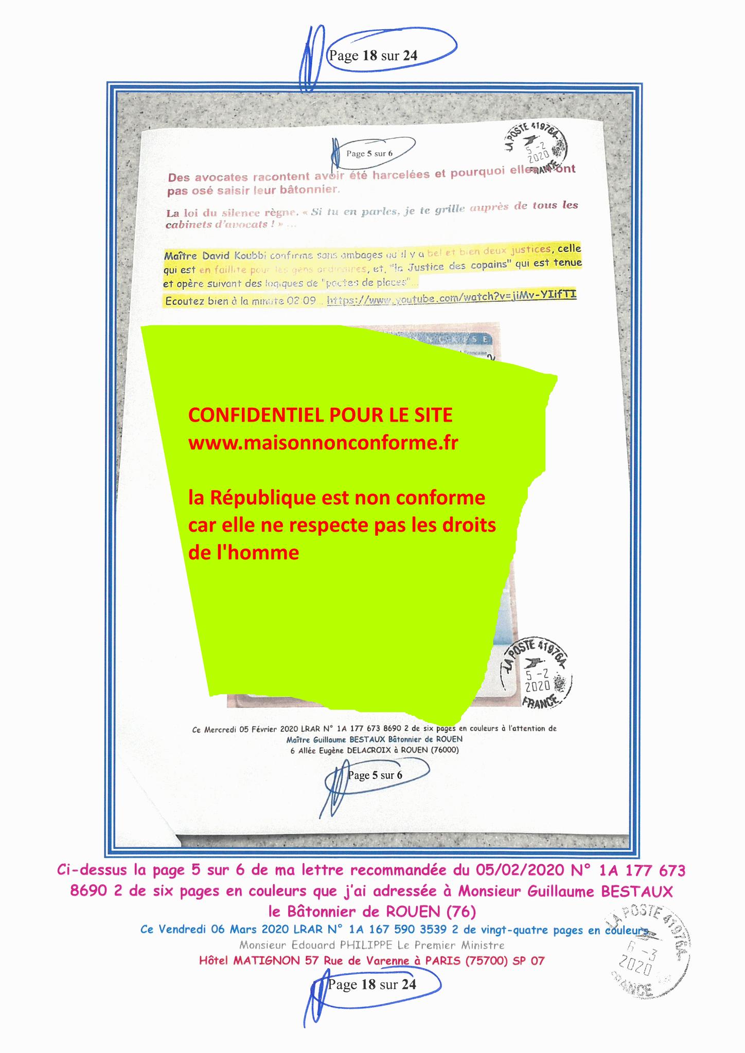 Ma LRAR à Monsieur le  Premier Ministre Edouard PHILIPPE N° 1A 167 590 3539 2 Page 18 sur 24 en Couleur du 06 Mars 2020  www.jesuispatrick.fr
