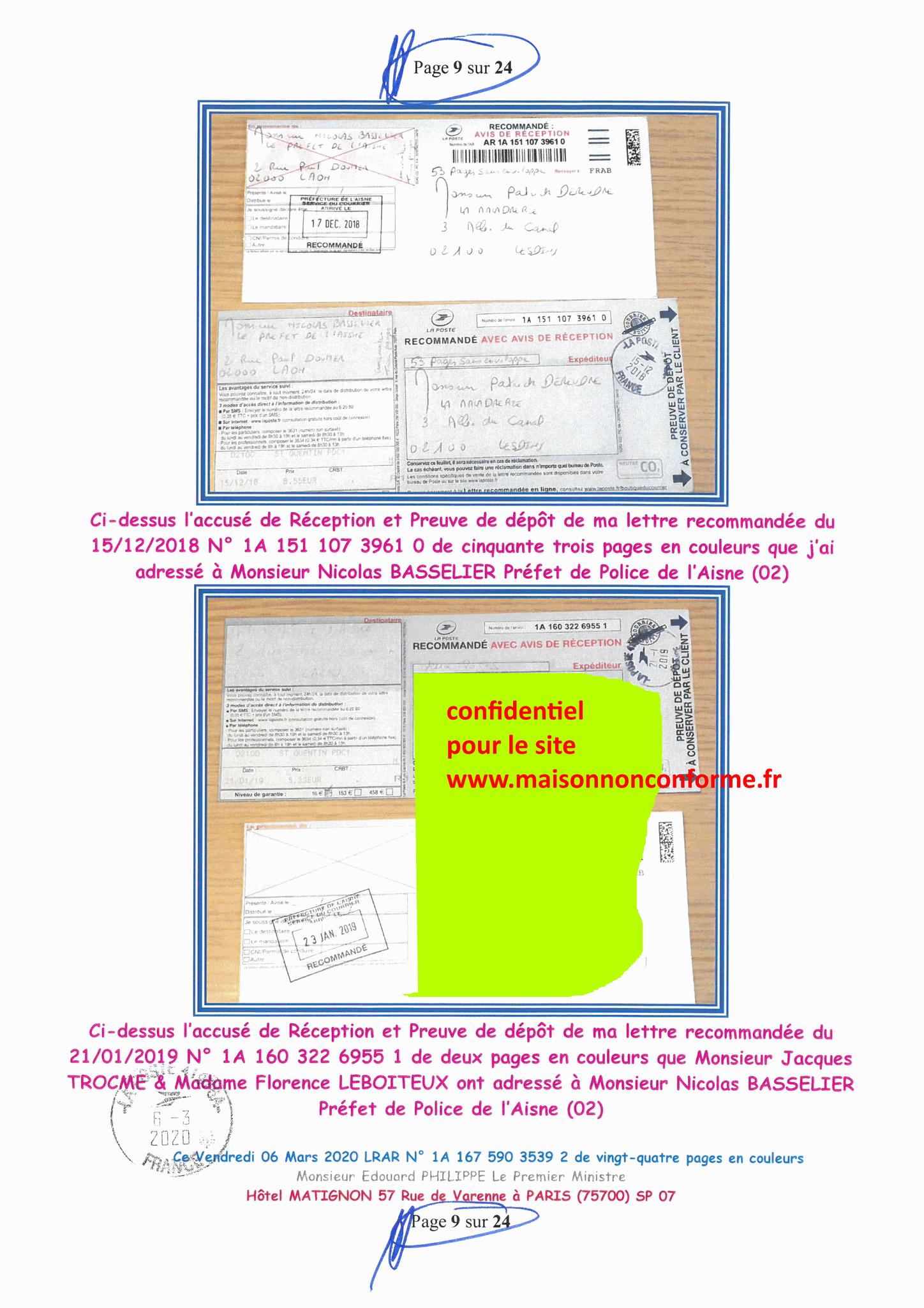 Ma LRAR à Monsieur le  Premier Ministre Edouard PHILIPPE N° 1A 167 590 3539 2 Page 9 sur 24 en Couleur du 06 Mars 2020  www.jesuispatrick.fr www.jesuisvictime.fr www.alerte-rouge-france.fr