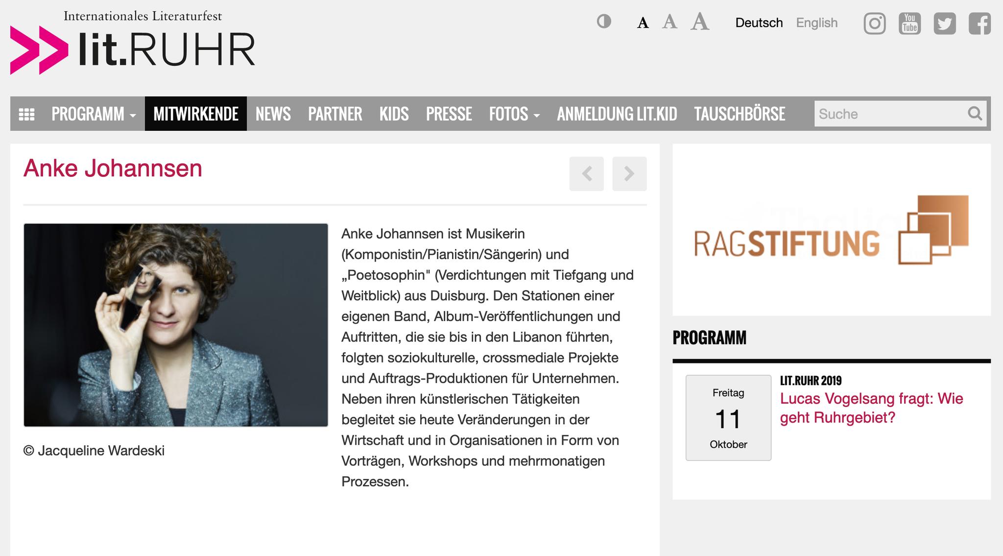 """Lucas Feuerwerk Vogelsang fragt am 11. Oktober: """"Wie geht Ruhrgebiet?"""", und nimmt mich mit auf die Bühne. Zwei Tage später dann noch einmal: Alte Mühle in der Dong, Neukirchen-Vlyun, 15 - 17 Uhr (weitere Infos per Klick auf das Bild)"""