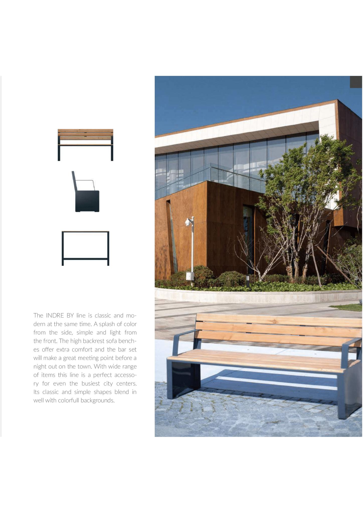 Sitzbank Holz/Stahl mit Armlehnen
