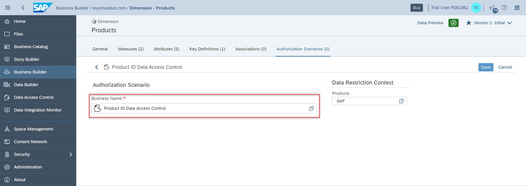 SAP Data Warehouse Cloud Define Authorization Scenario on Dimension