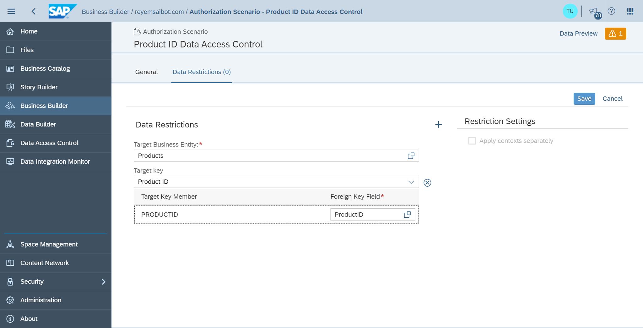 SAP Data Warehouse Cloud Define Authorization Scenario