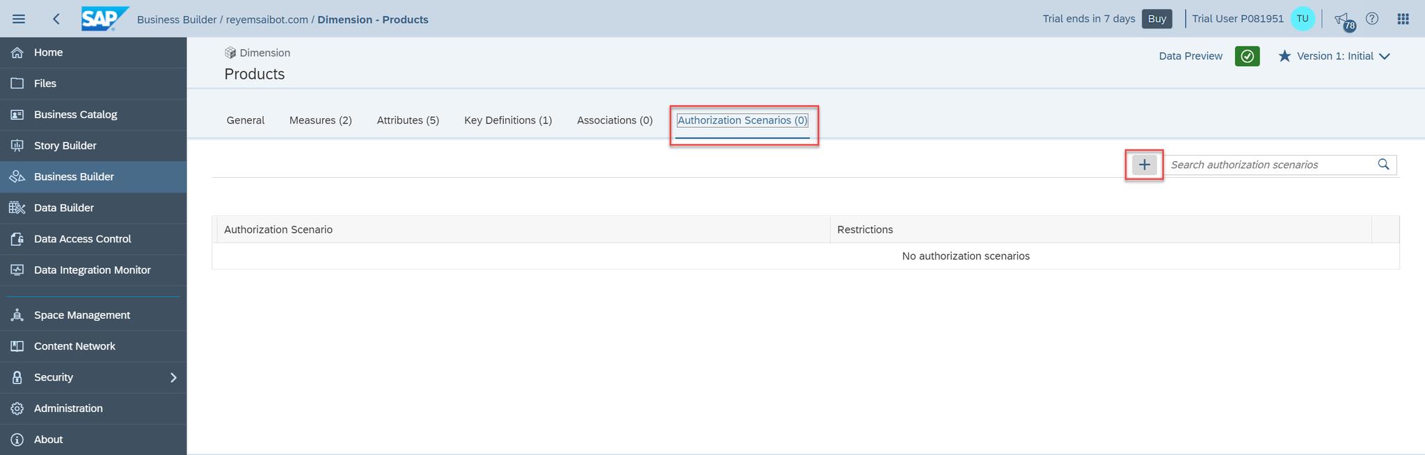 SAP Data Warehouse Cloud Add Authorization Scenario to Dimension