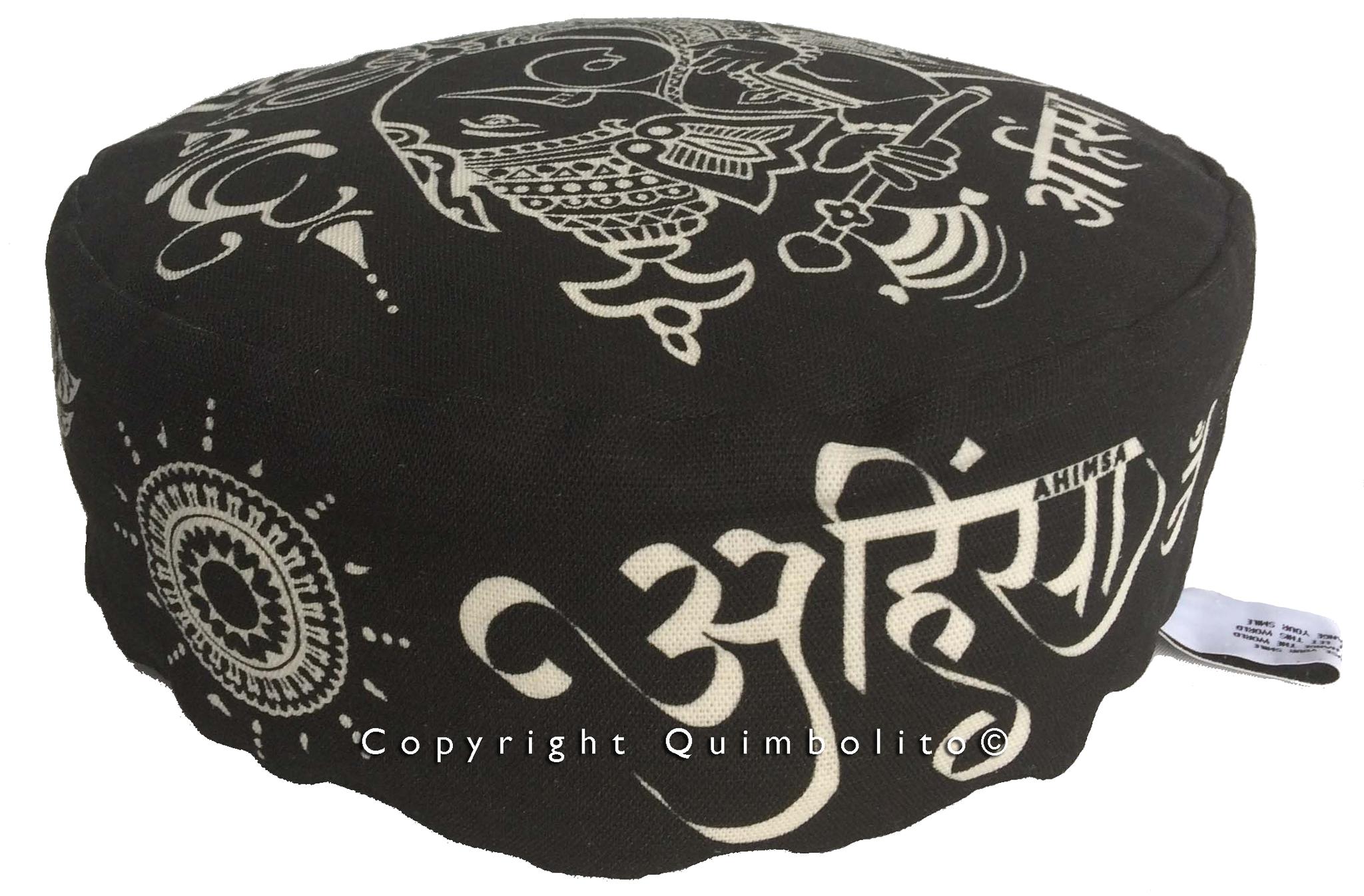 Ganesha, op zwart-off white katoen/linnen meditatiekussen
