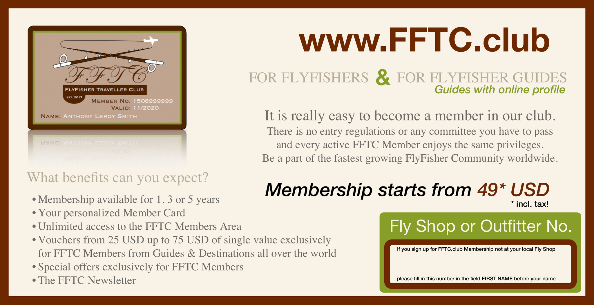 FFTC.club - Fly Fisher Membership - Backside Flyer 2017!