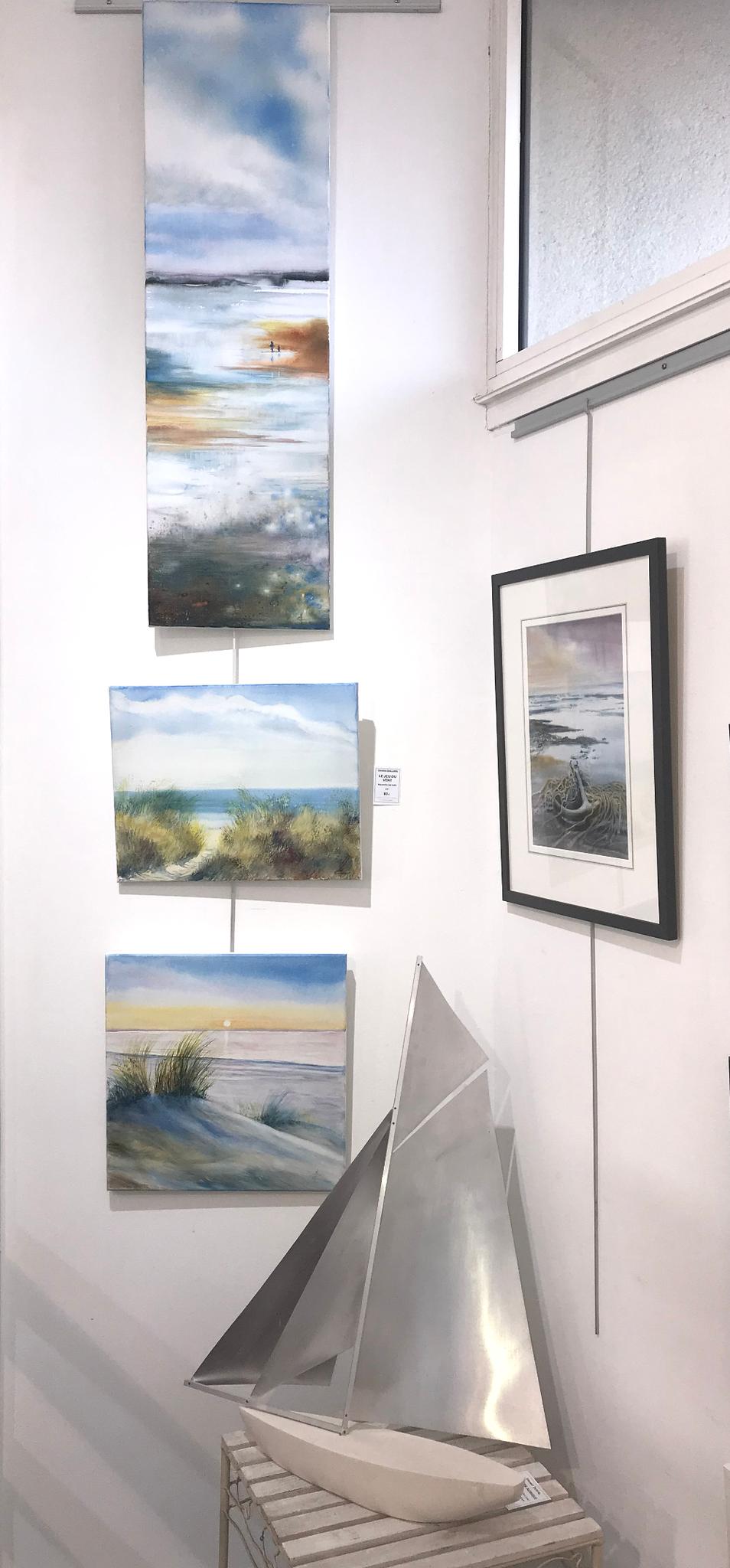 Caroline Raillard Aquarelles sur toiles à la galerie du 1er Oléron