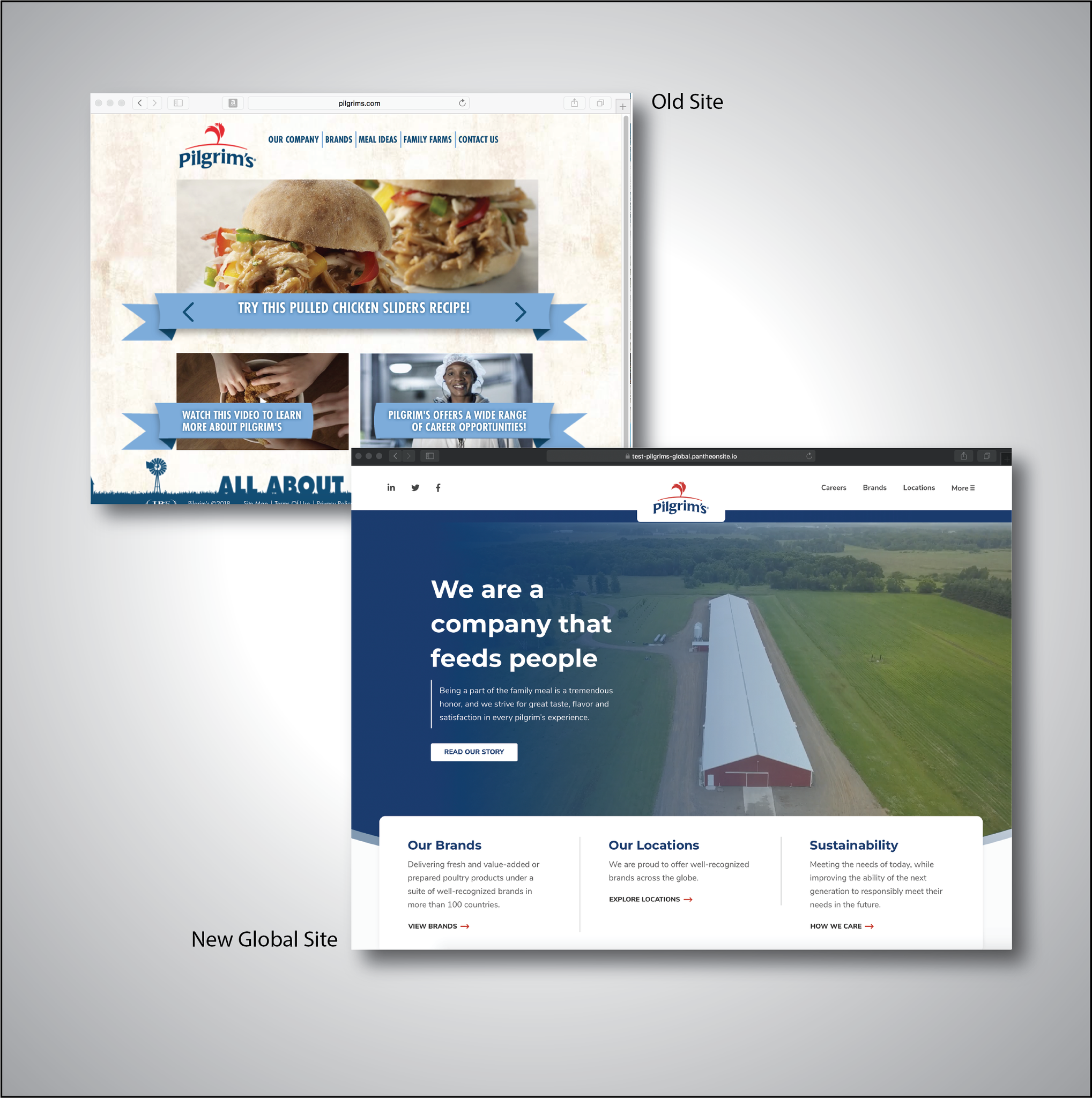 Creative Direction at Pilgrims Chicken. Created 2 brand new websites in 2018 making a Global and Branded presence.