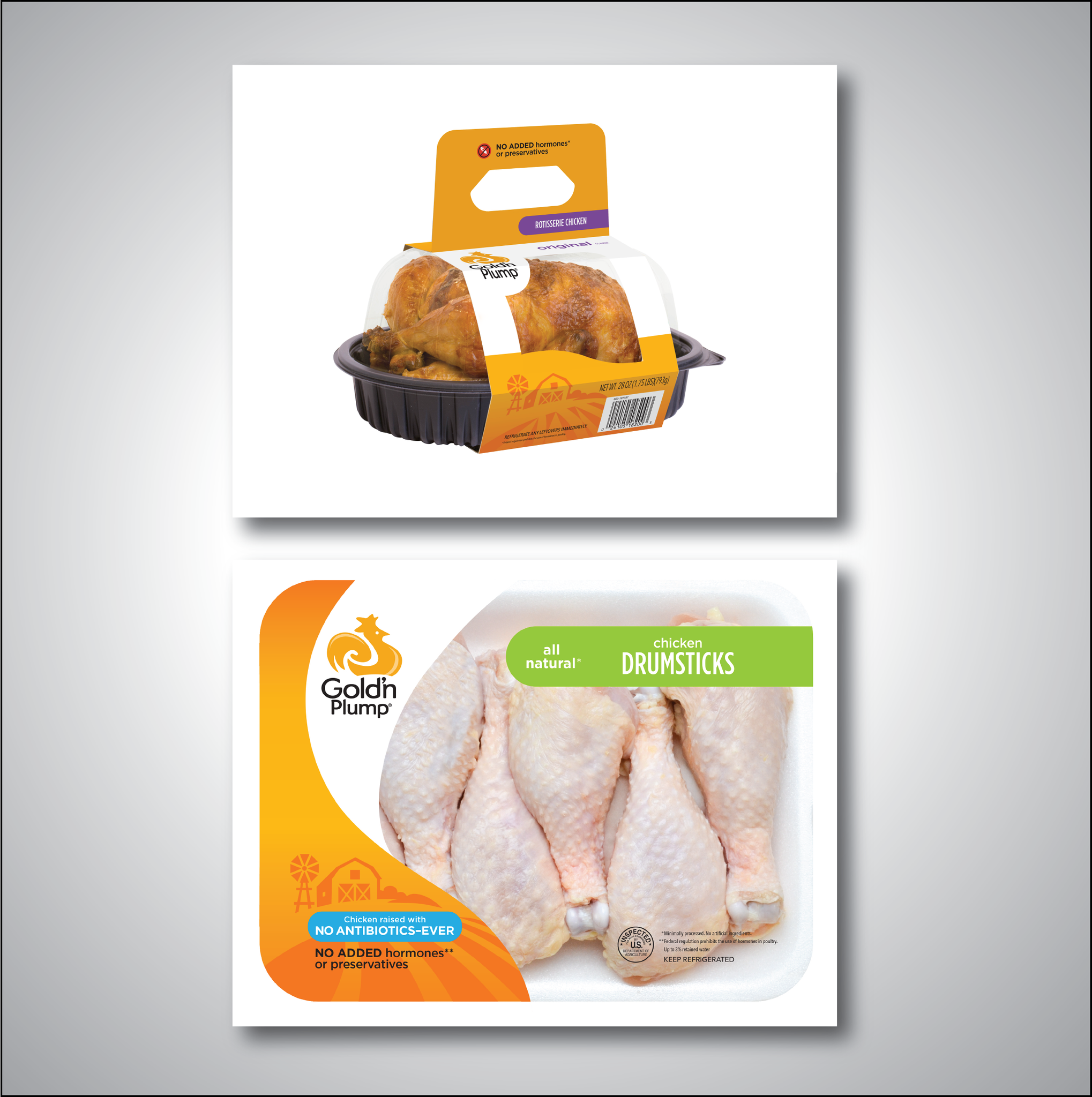 Creative Direction at Pilgrims Chicken. New branded look to Gold'n Plump Chicken packaging.