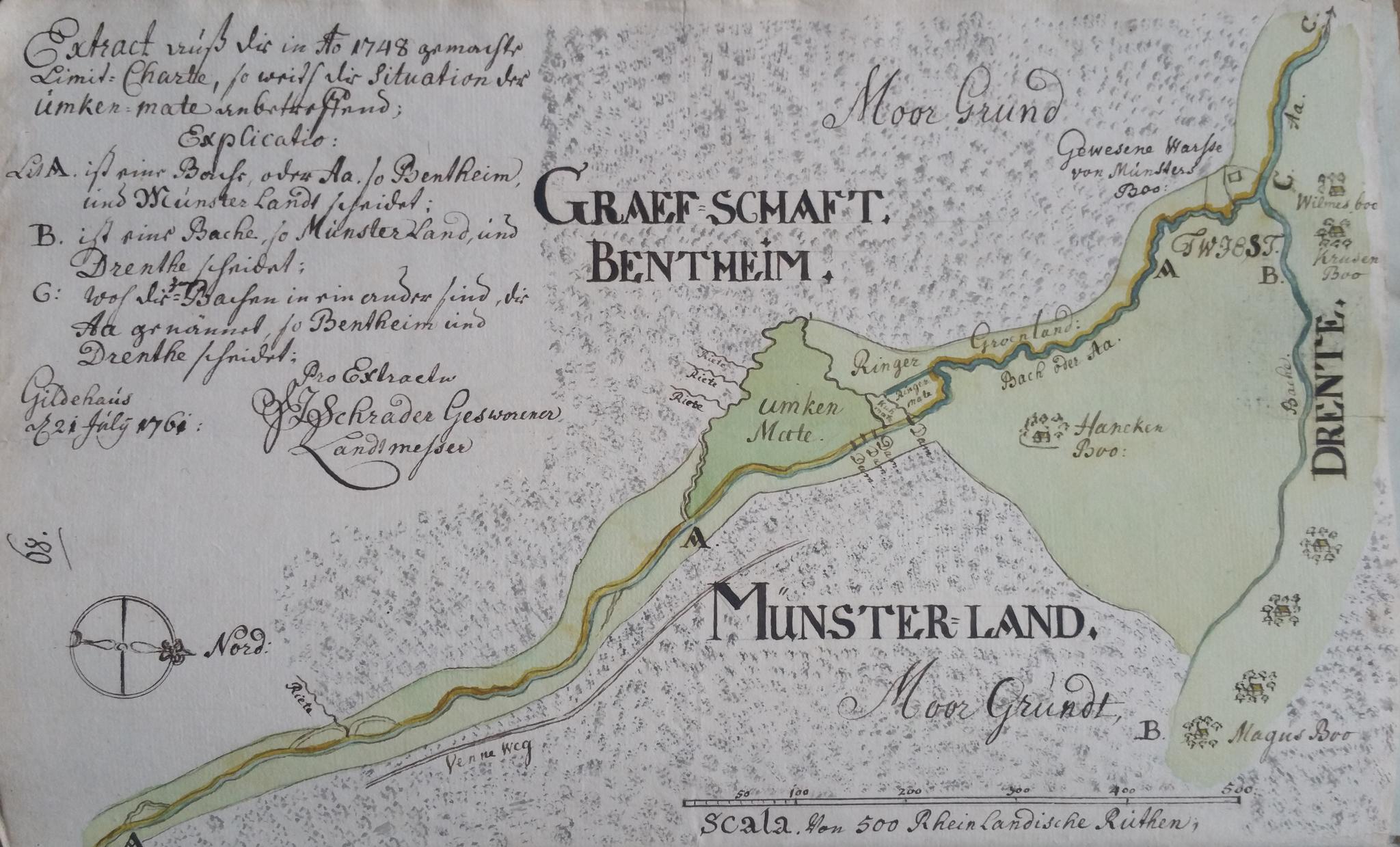 kaart in verband met grensgeschil tussen Drenthe, Bentheim en Münster 1761