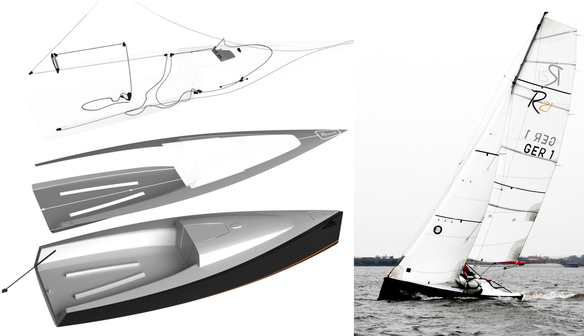Design vom Decksaufbau des Sportkielbootes Rhepro 21