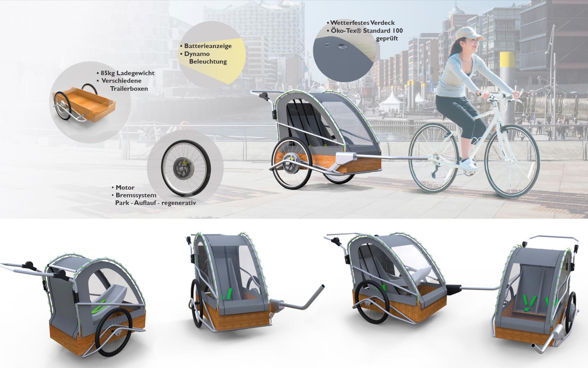 Design und Konzept eines motorisierten Fahrradanhängers für Nüwiel