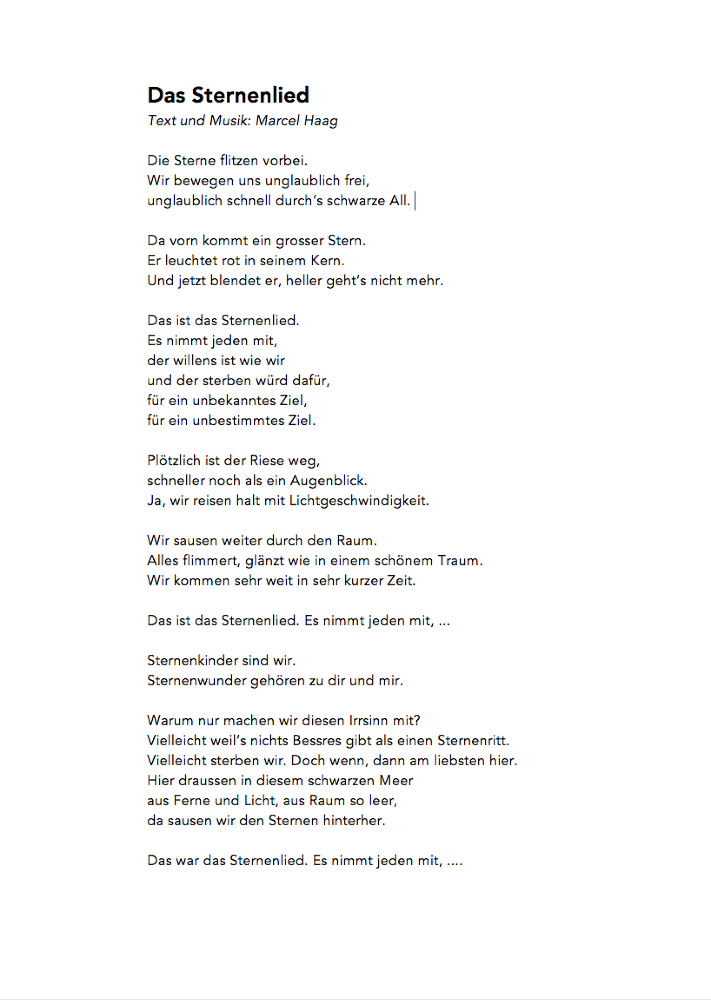 Das Sternenlied by Marcel Haag - Lyrics