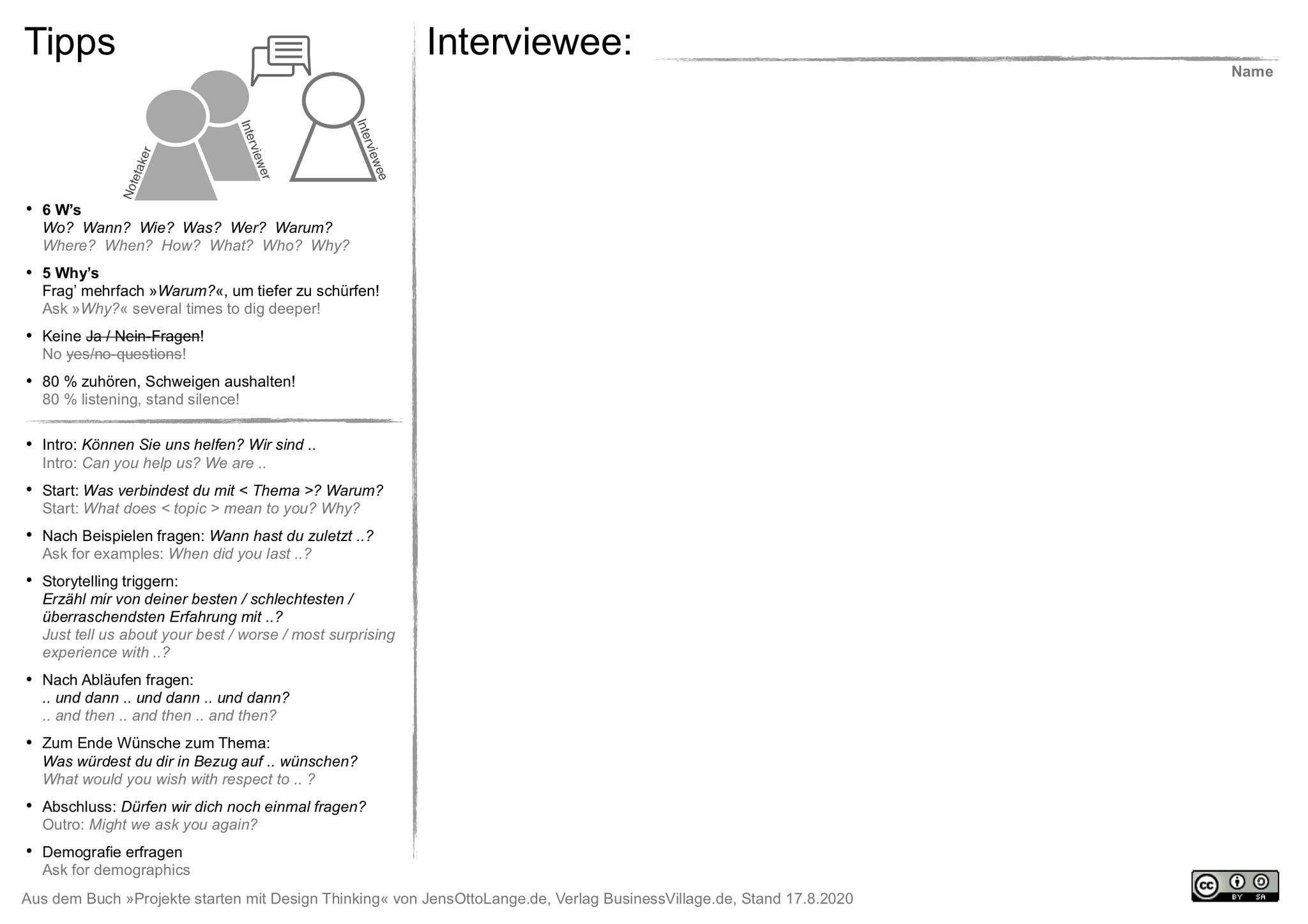 9. Interview-Notizbogen mit Interview-Tipps herunterladen