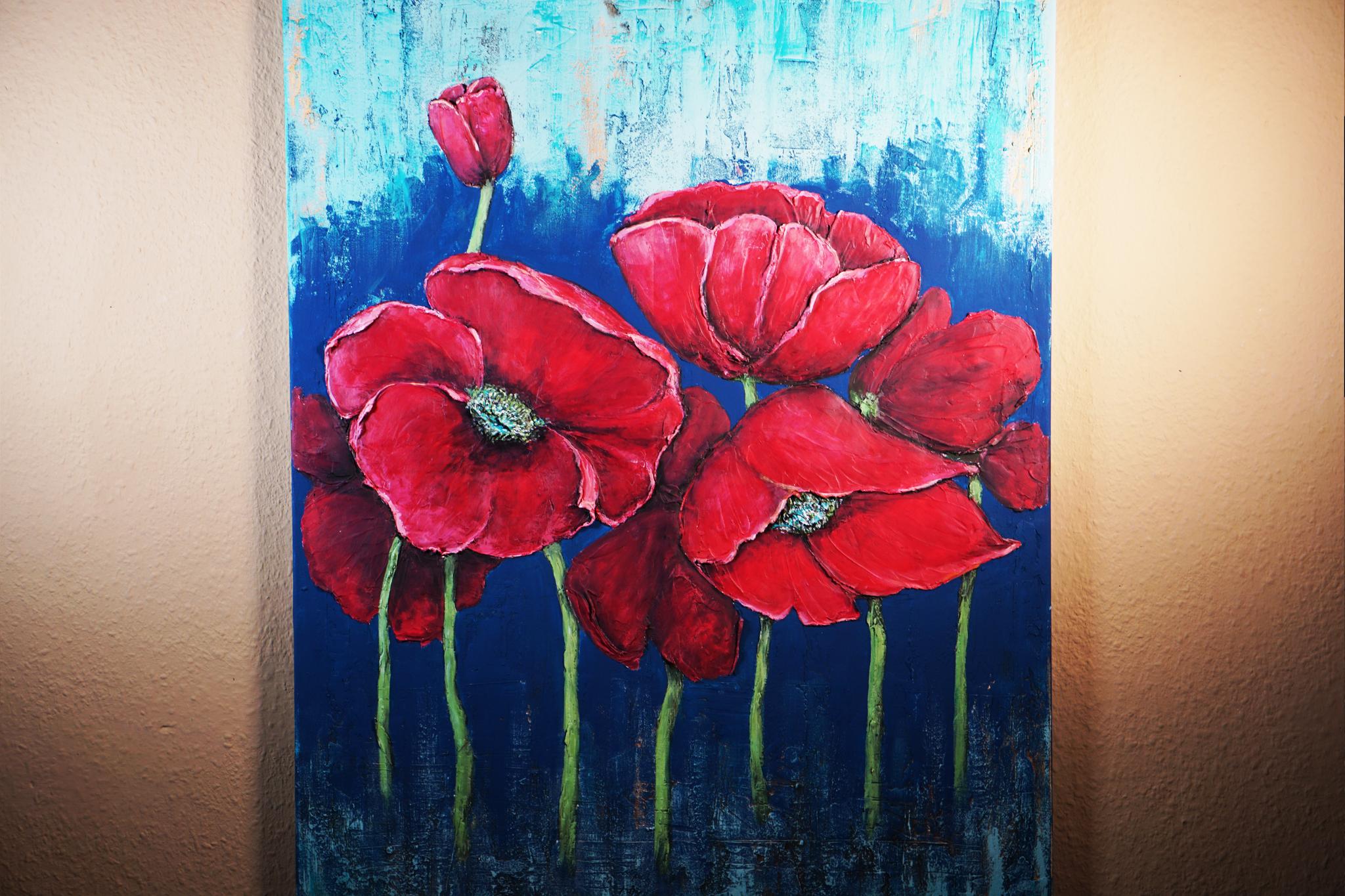 Rote Mohnblumen, 70x90, Maria Müller