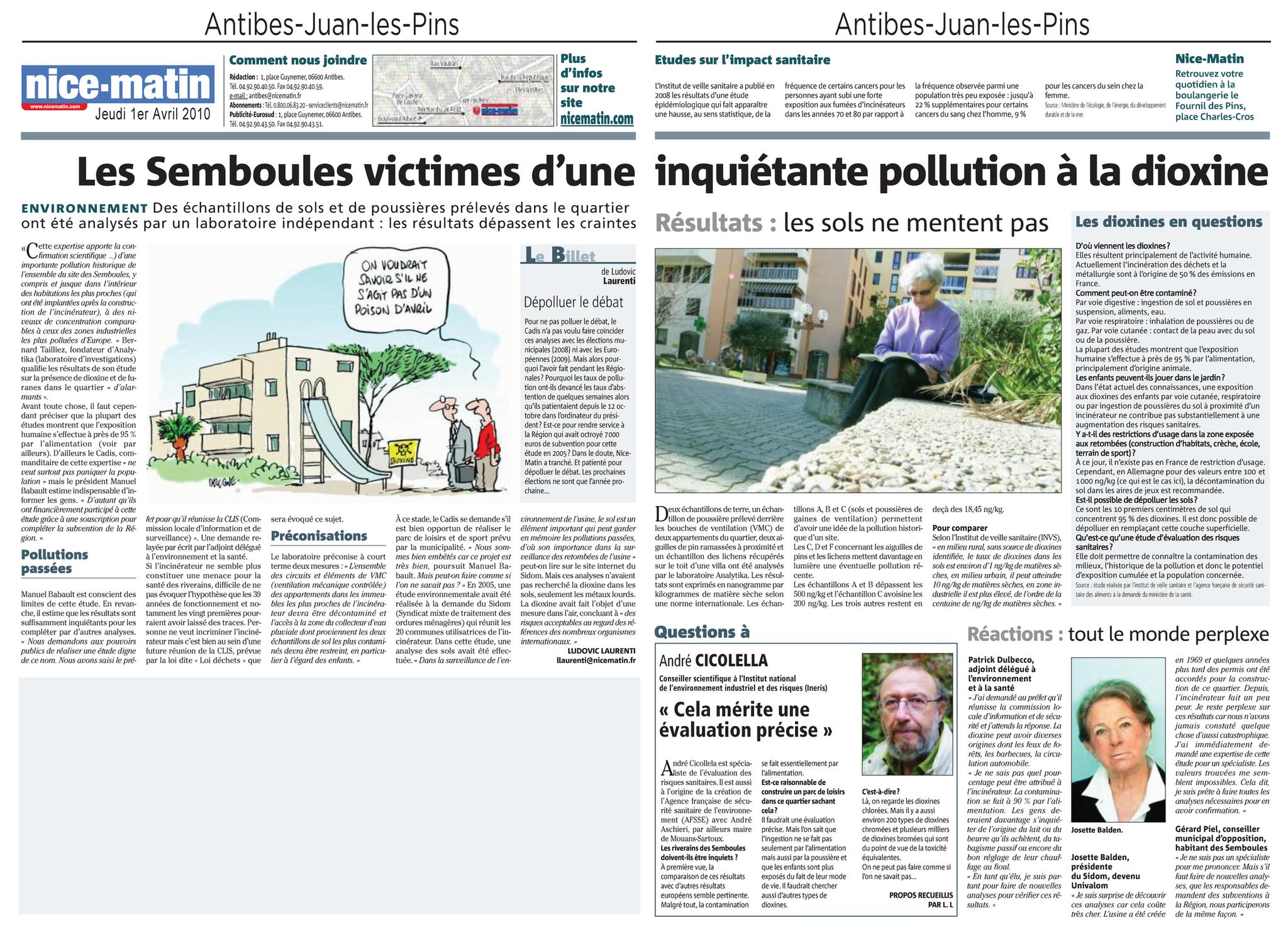 """01.04.2010 > NICE MATIN : """"Les Semboules victimes d'une inquiétante pollution à la dioxine"""""""