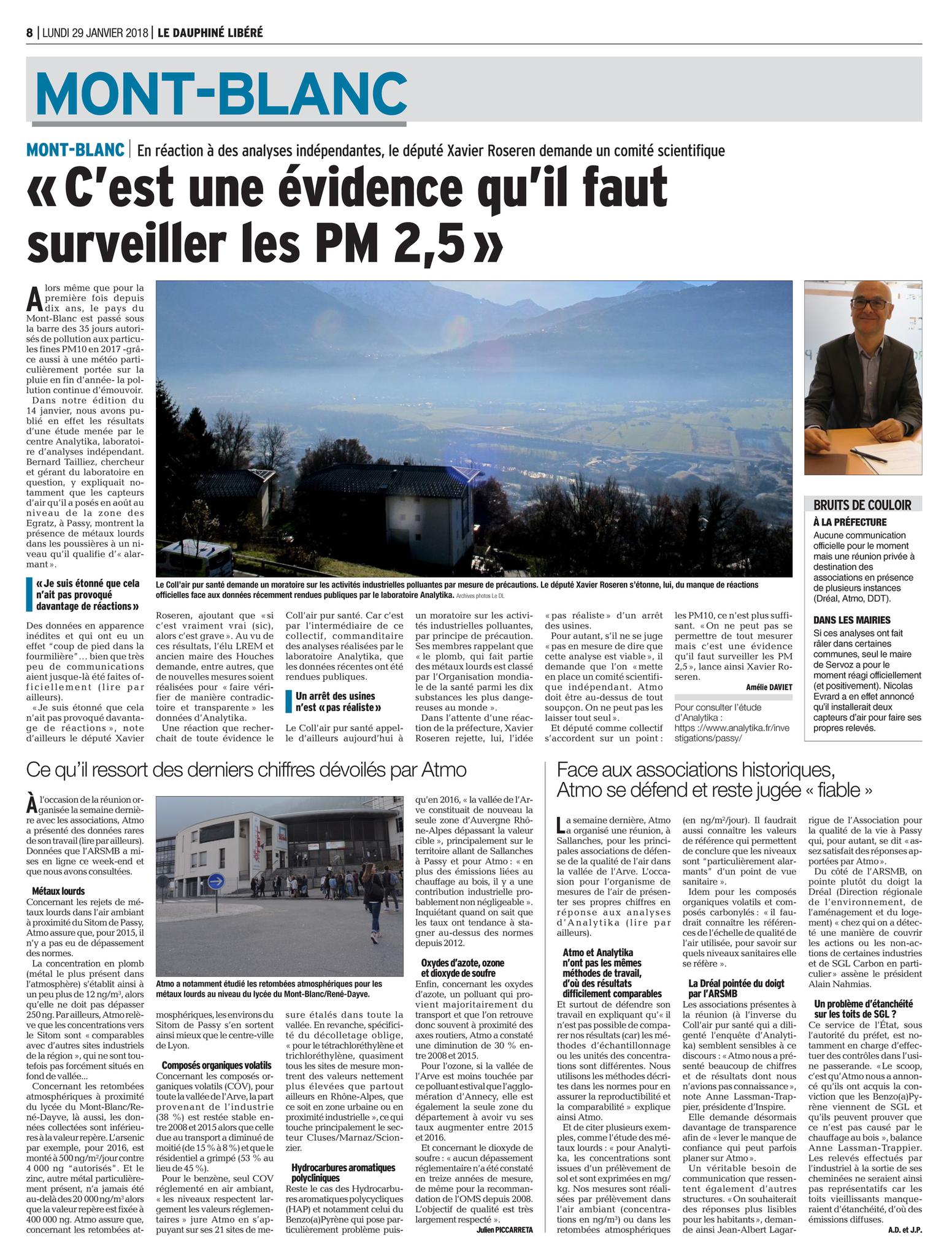 """29.01.2018 > LE DAUPHINÉ LIBÉRÉ : """"« C'est une évidence qu'il faut surveiller les PM 2,5 » En réaction à des analyses indépendantes, le député Xavier Roseren demande un comité scientifique"""""""