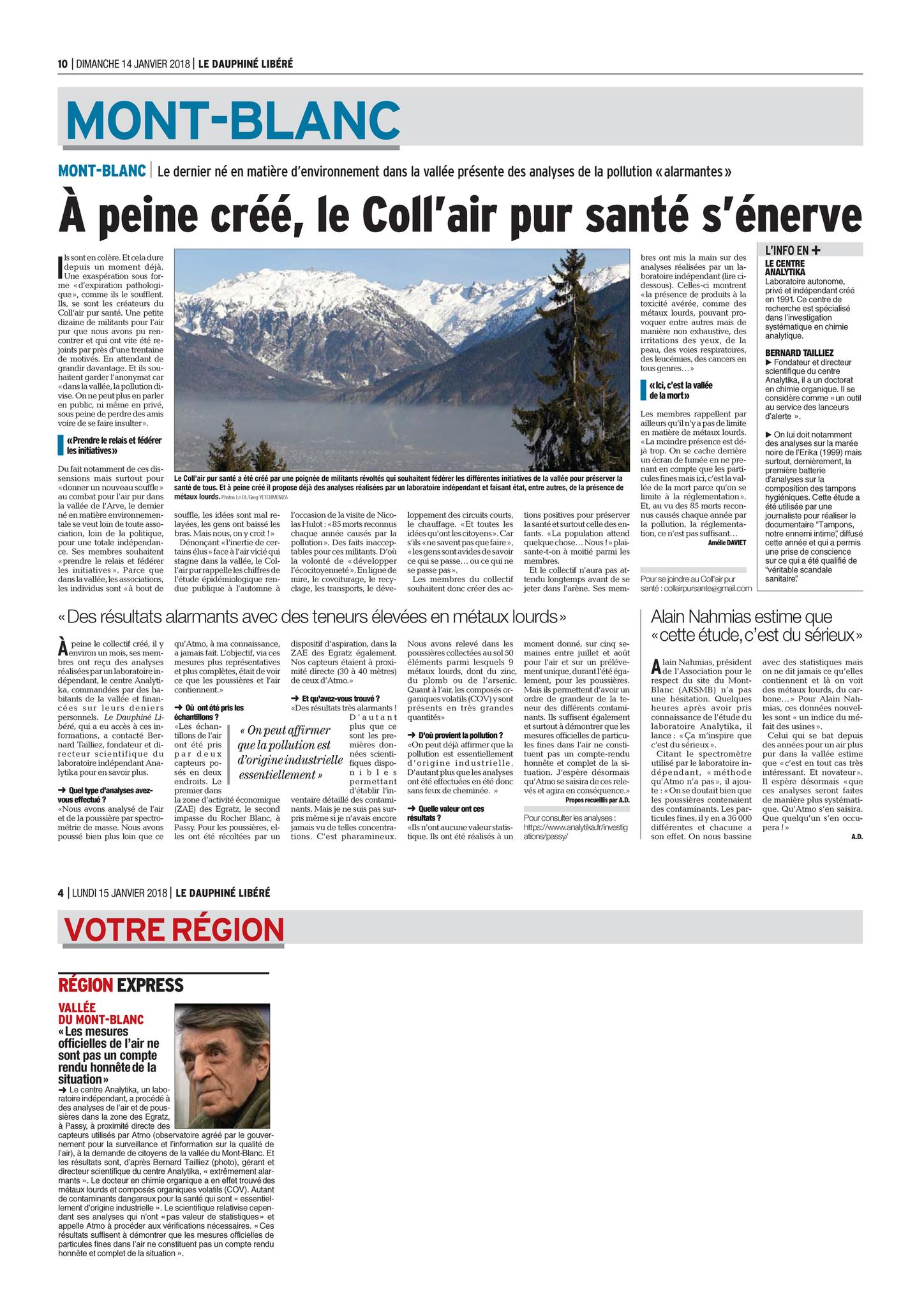 14 & 15.01.2018 > DAUPHINÉ LIBÉRÉ (Haute-Savoie) : « À peine créé, le Coll'air pur santé s'énerve »